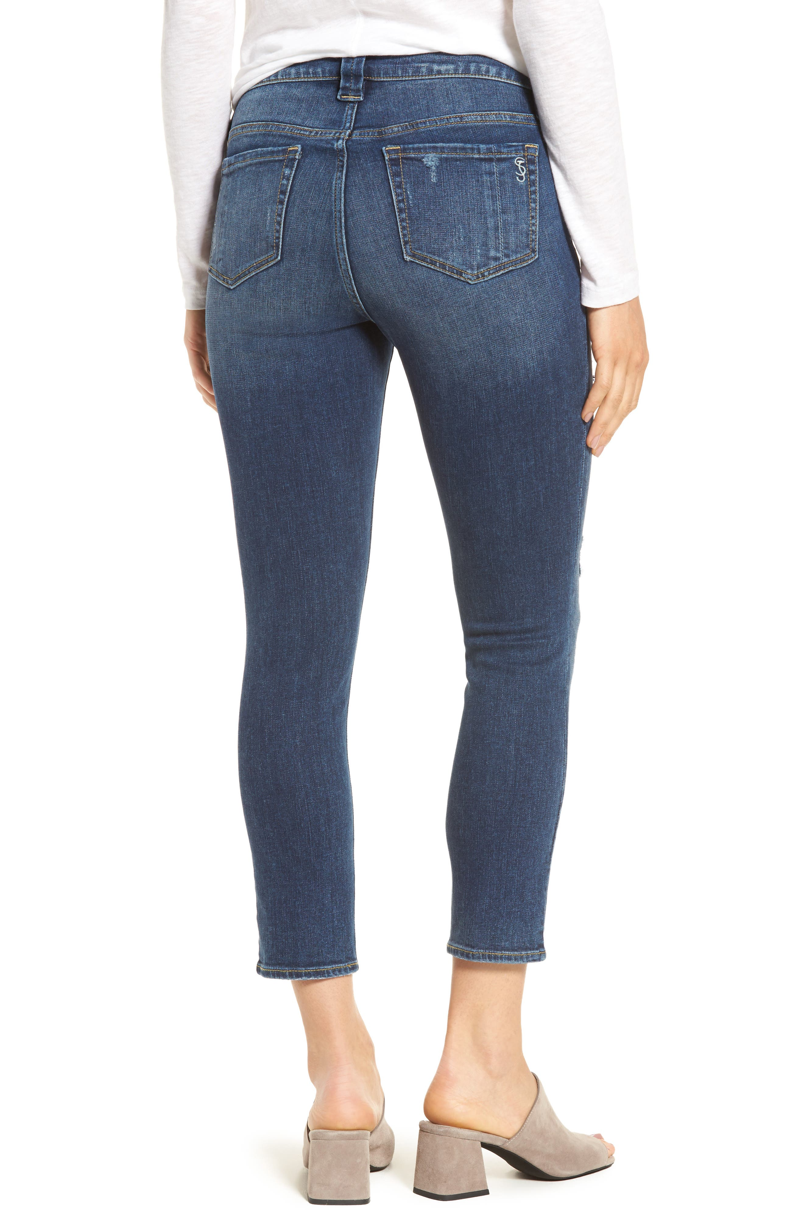 Alternate Image 2  - SLINK Jeans Distressed Ankle Skinny Jeans (Lysa)
