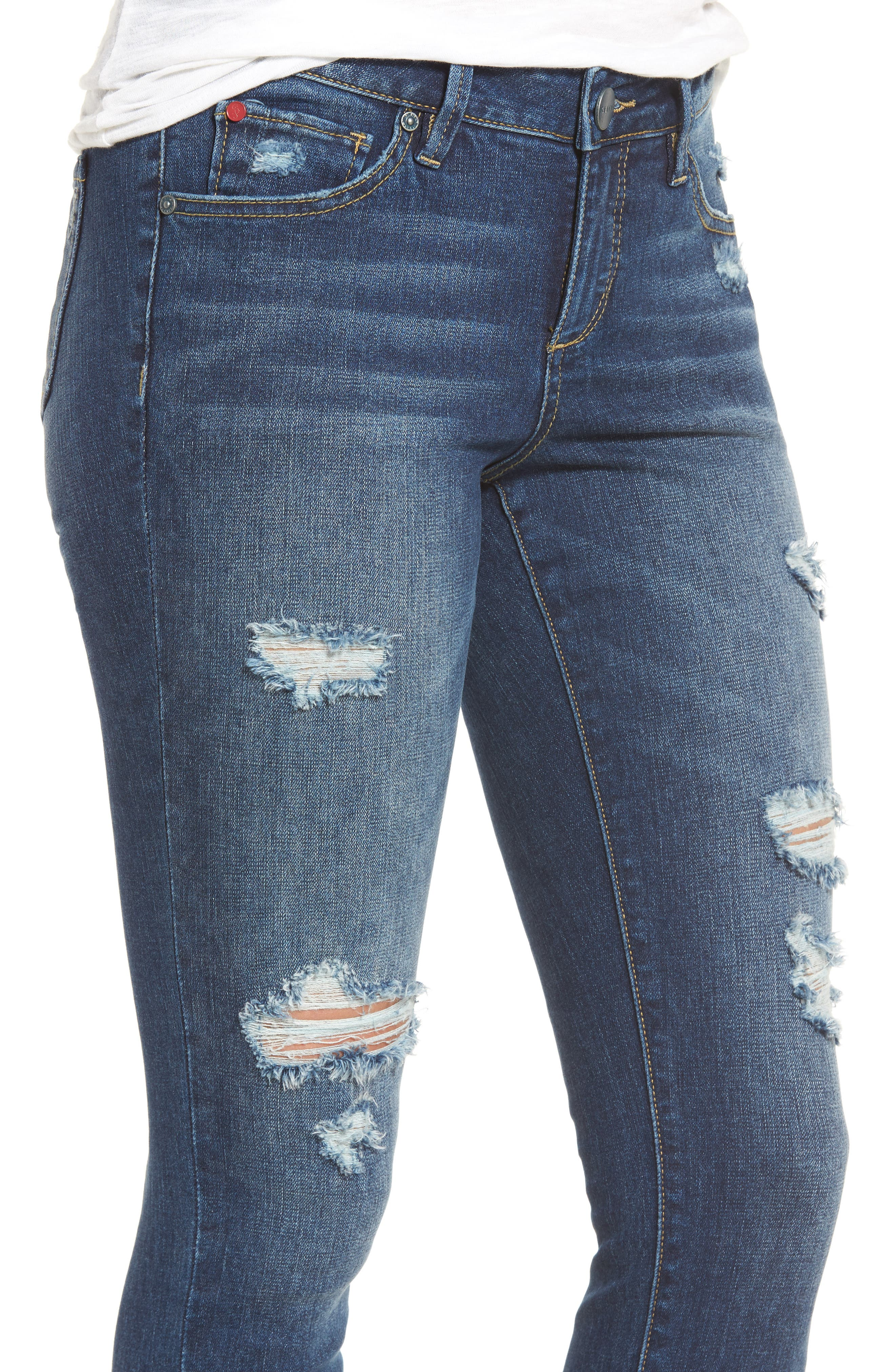 Alternate Image 4  - SLINK Jeans Distressed Ankle Skinny Jeans (Lysa)