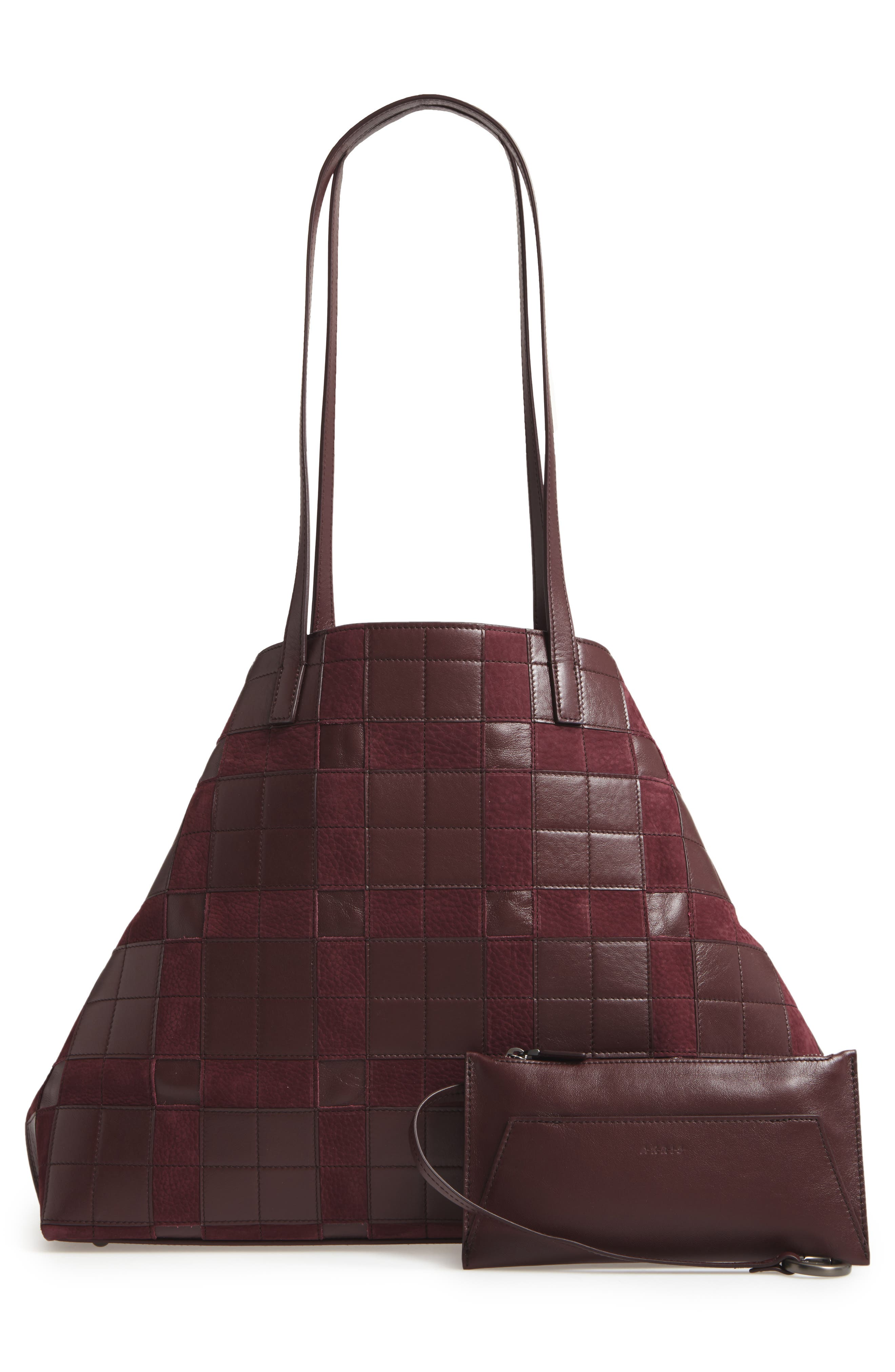 Medium AI Leather Shoulder Tote,                             Alternate thumbnail 2, color,                             Burgundy