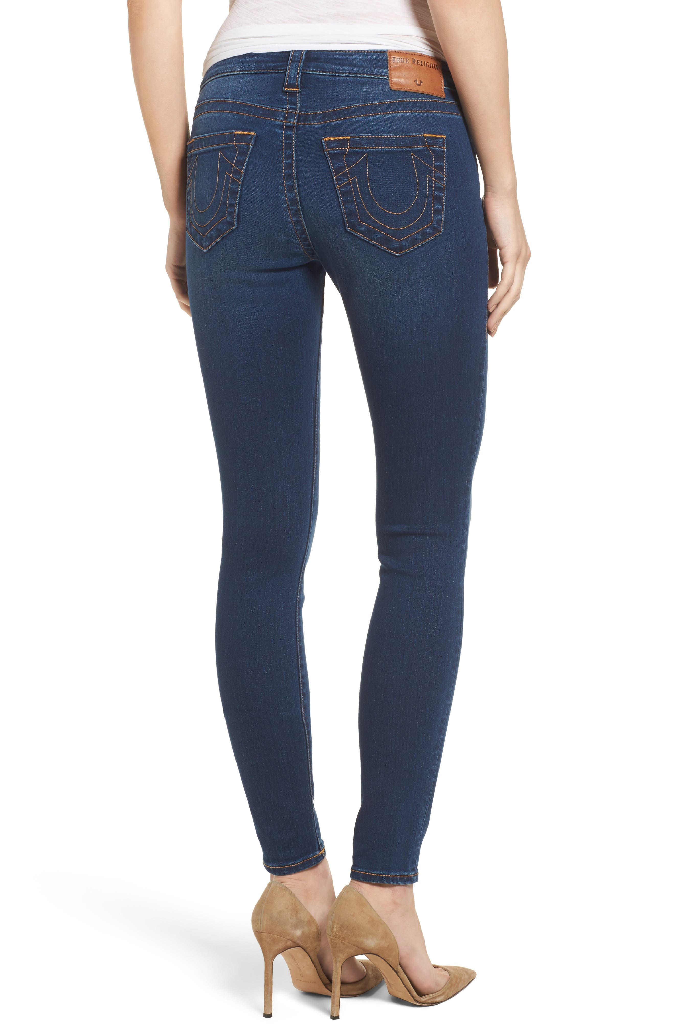 Halle Mid Rise Skinny Jeans,                             Alternate thumbnail 2, color,                             Lands End Indigo
