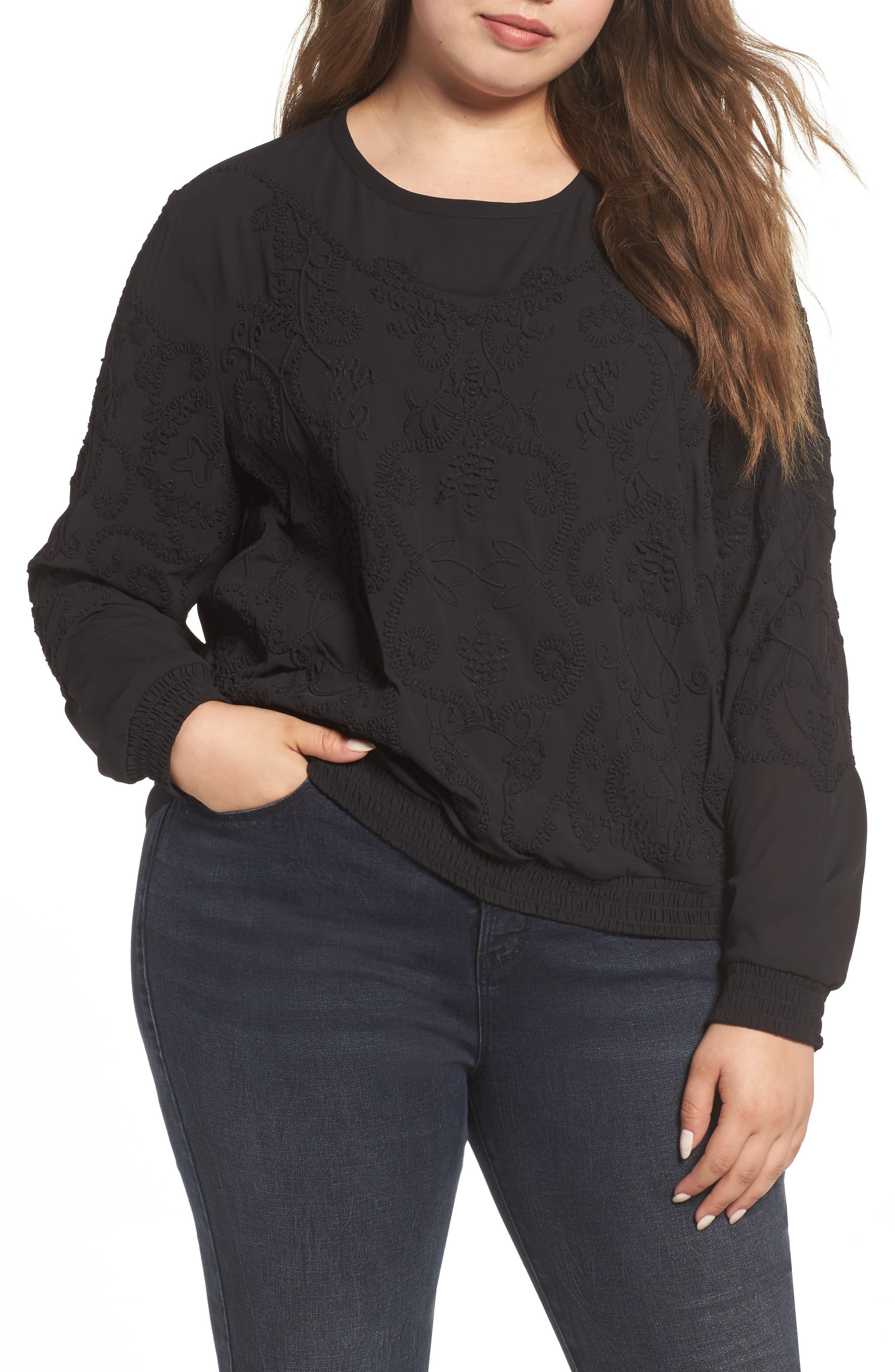 Embroidered Georgette Top,                         Main,                         color, Black Beauty