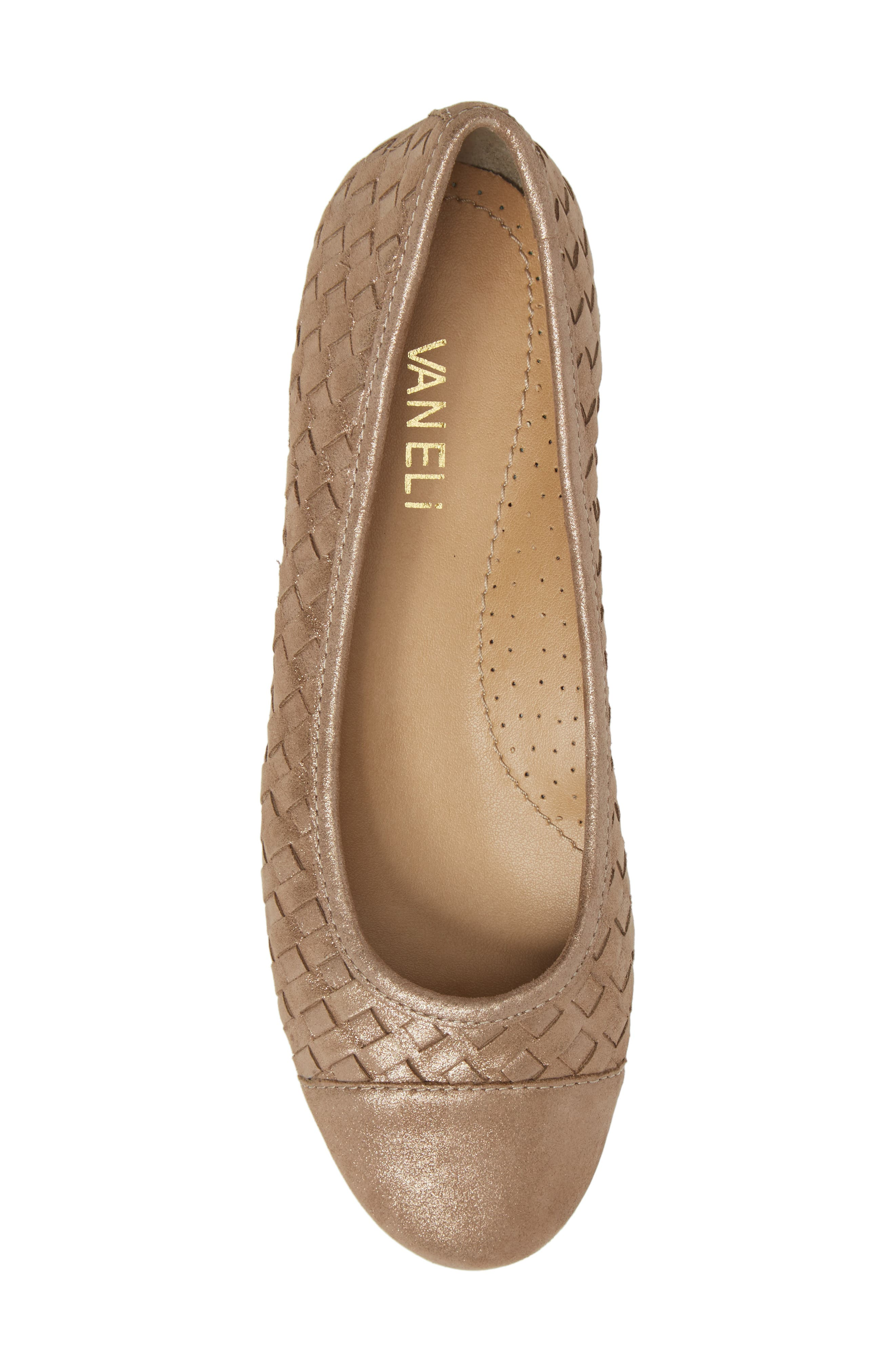 Shera Woven Skimmer Flat,                             Alternate thumbnail 5, color,                             Taupe Suede