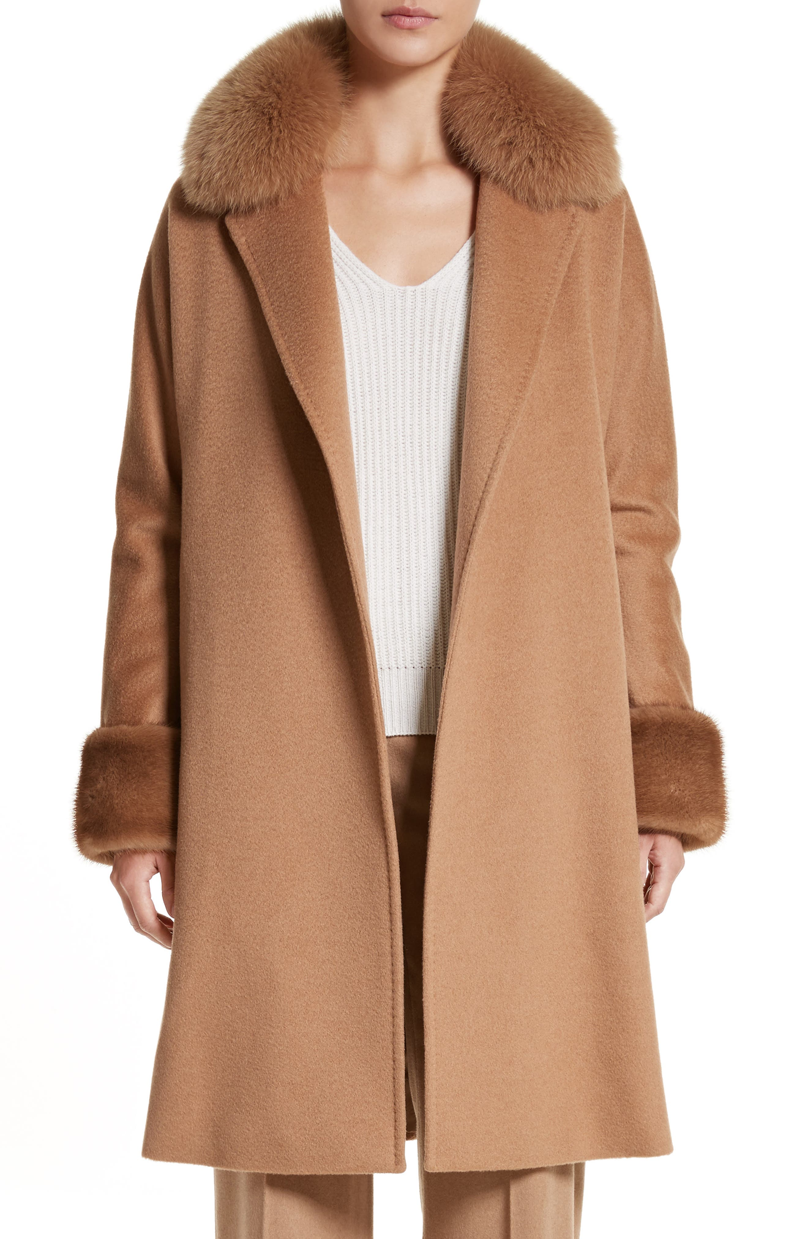 Main Image - Max Mara Camel Hair Coat with Genuine Fox Fur & Genuine Mink Fur Trim