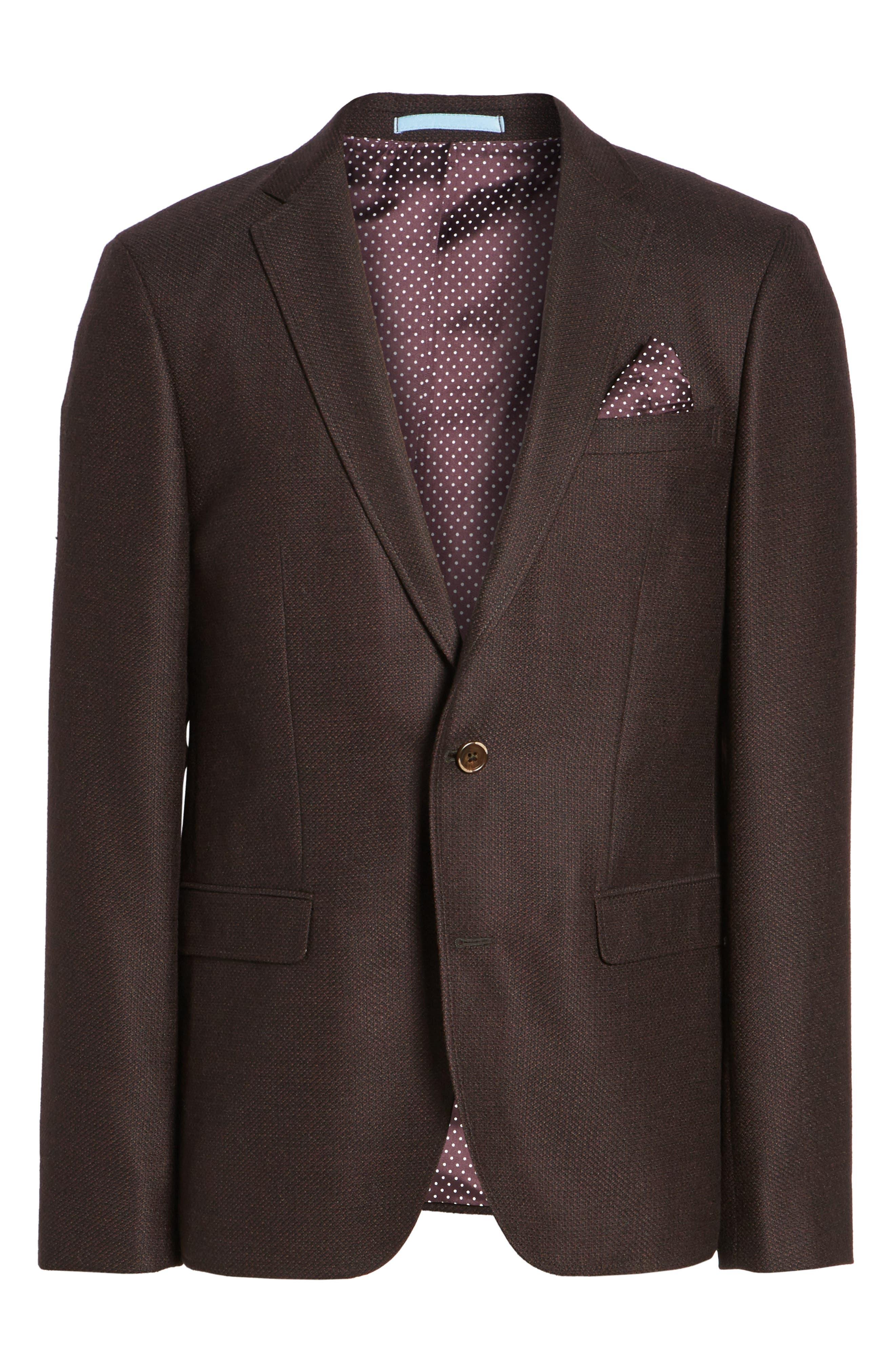 Trim Fit Wool Sport Coat,                             Alternate thumbnail 6, color,                             Bordeaux