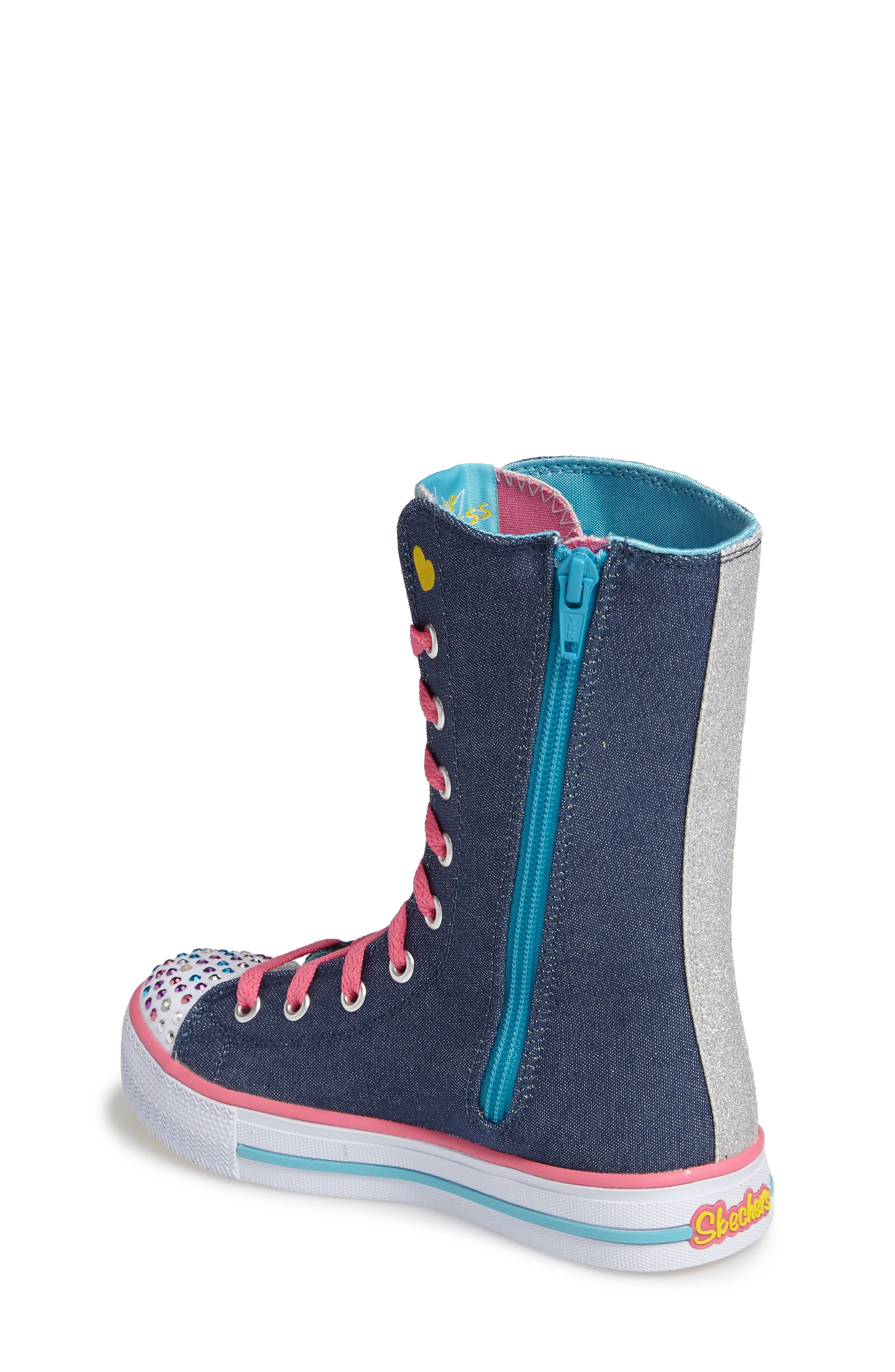 Twinkle Toes Shuffles Ultra High Top Sneaker,                             Alternate thumbnail 2, color,                             Denim/ Multi