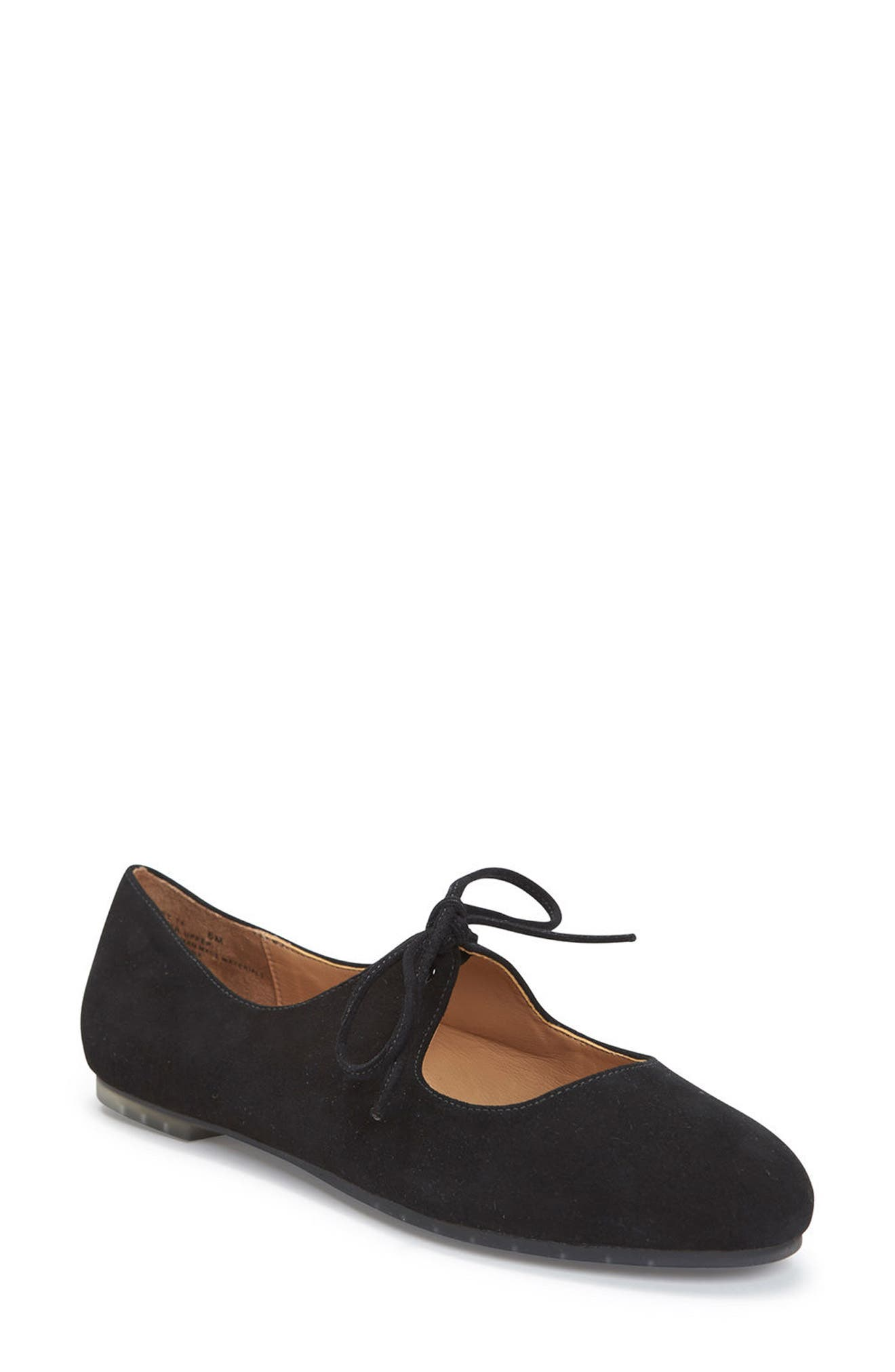 Cacey Mary Jane Flat,                             Main thumbnail 1, color,                             Black Suede