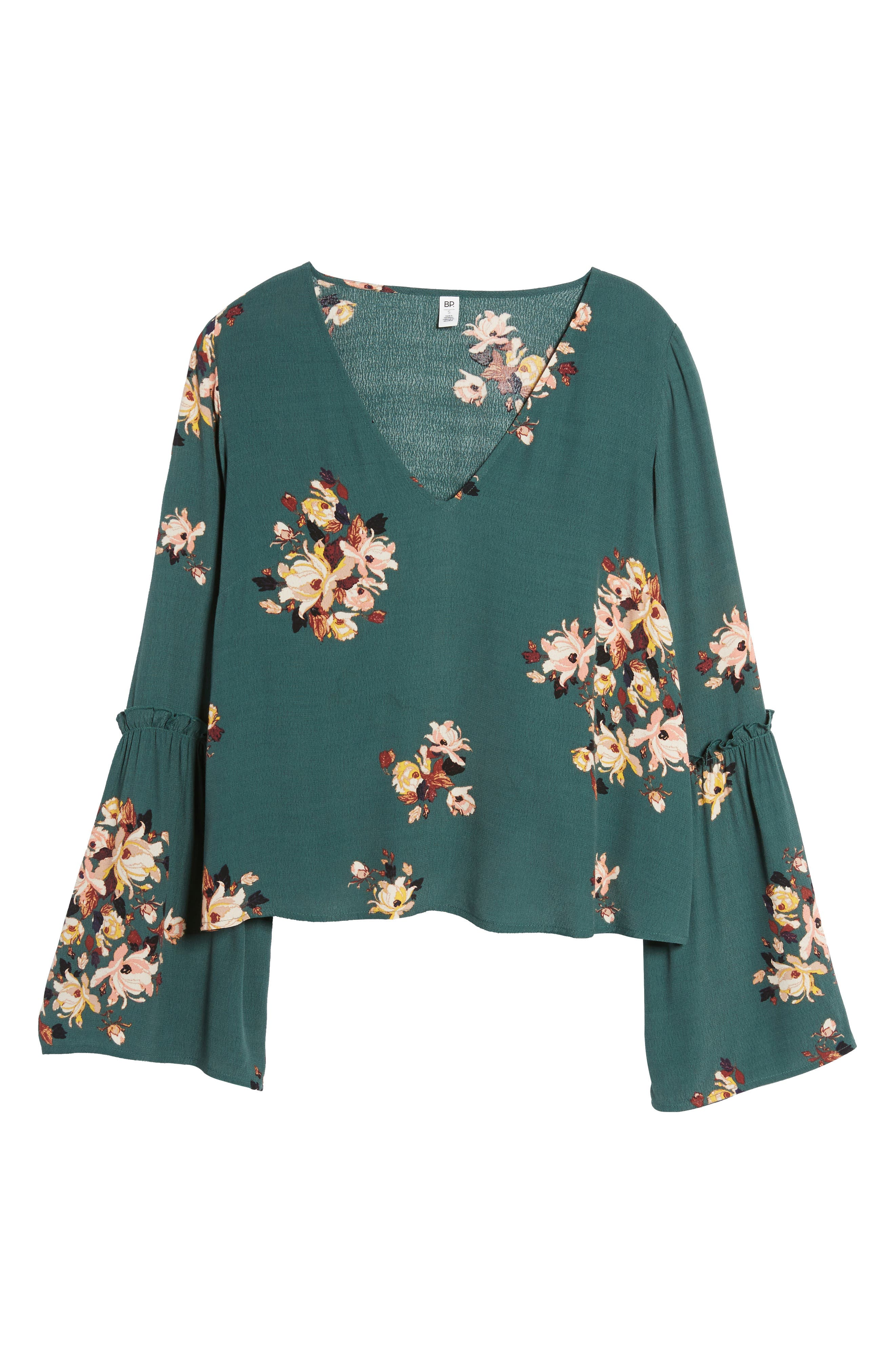 Bell Sleeve Blouse,                             Alternate thumbnail 7, color,                             Green Jungle Floral Bouquet