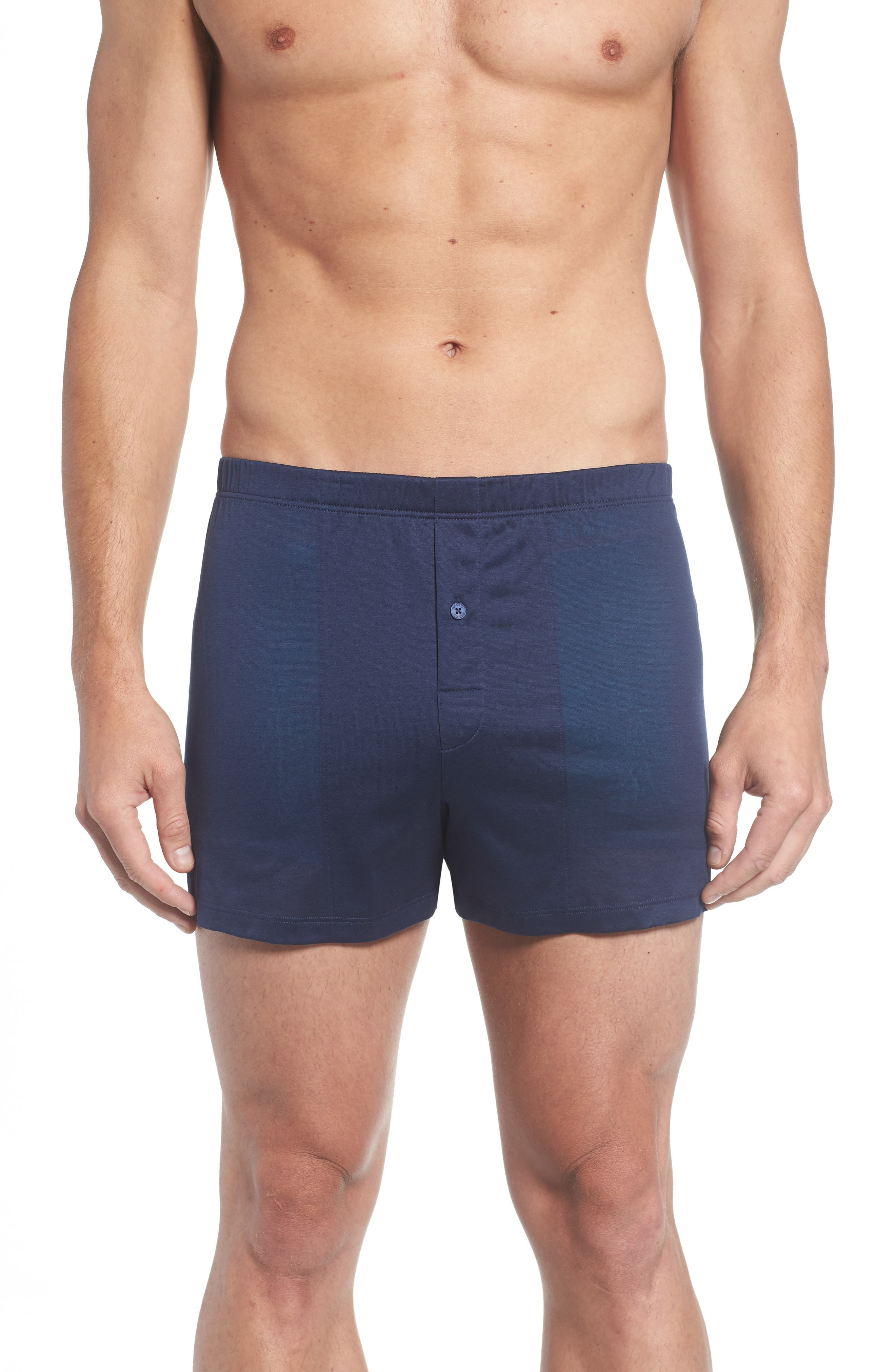 Cotton Sporty Knit Boxers,                             Main thumbnail 1, color,                             Midnight Navy