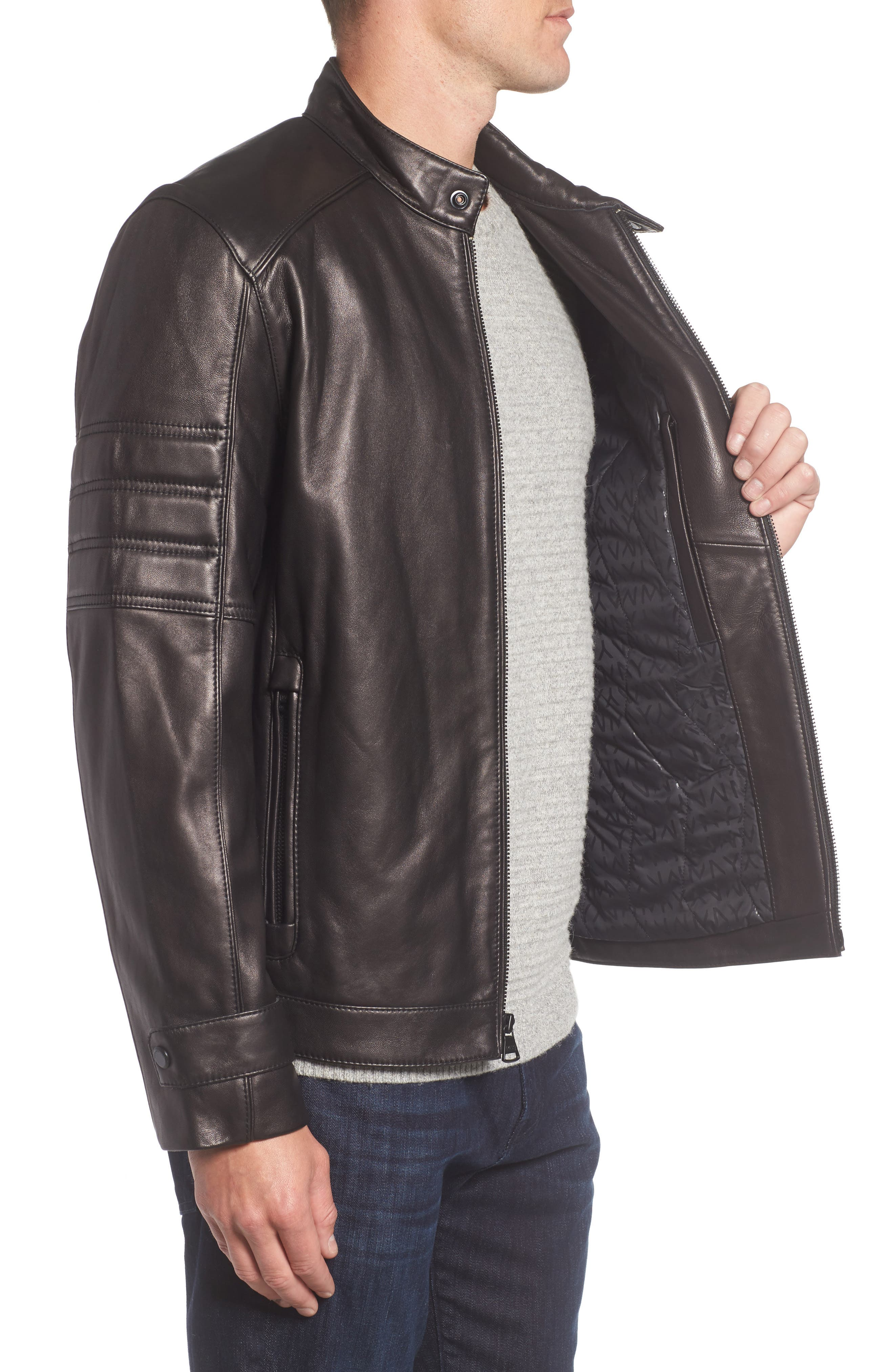 Tuers Lambskin Leather Moto Jacket,                             Alternate thumbnail 3, color,                             Black