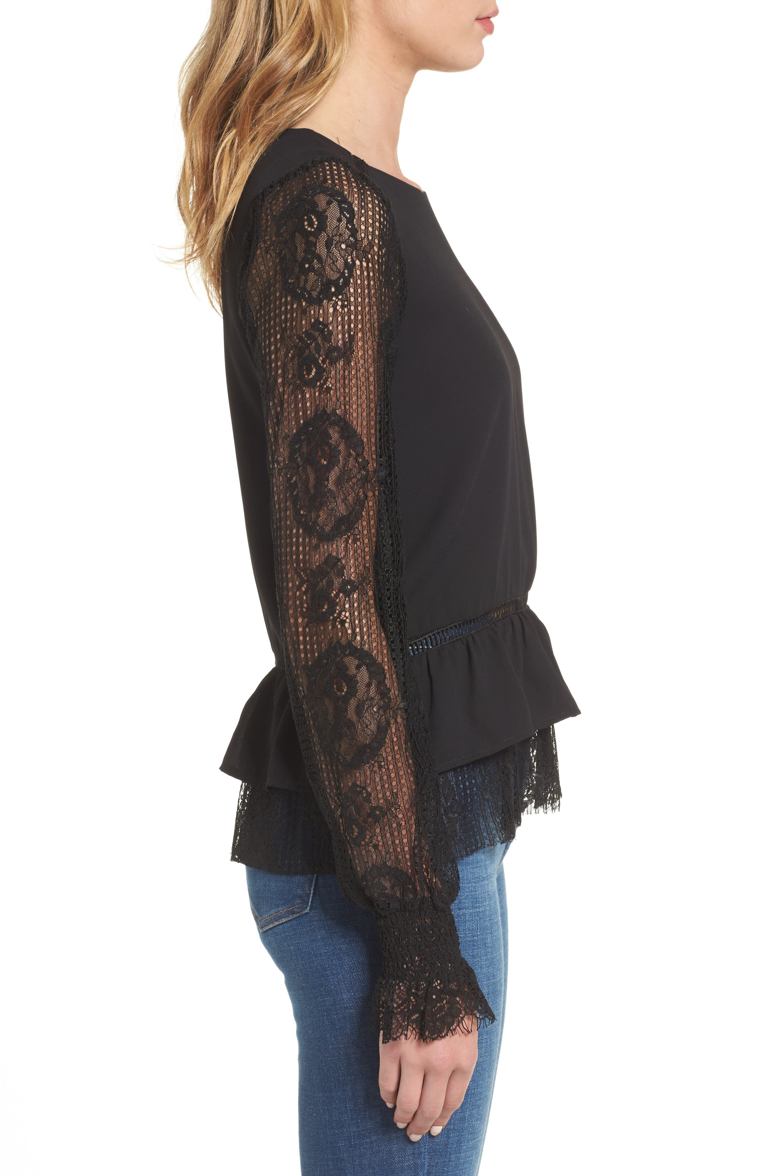 Alternate Image 3  - MOON RIVER Ruffle Hem Lace Sleeve Top