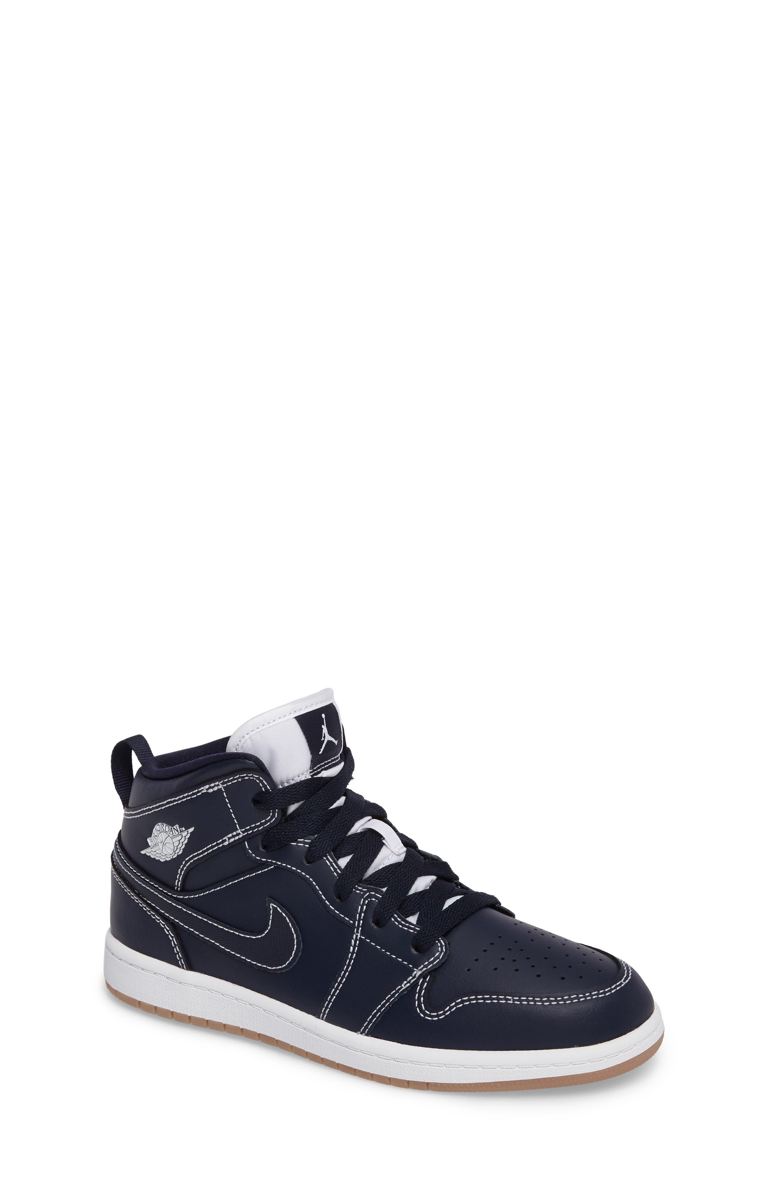 'Air Jordan 1' Mid Sneaker,                             Main thumbnail 1, color,                             Obsidian/ White