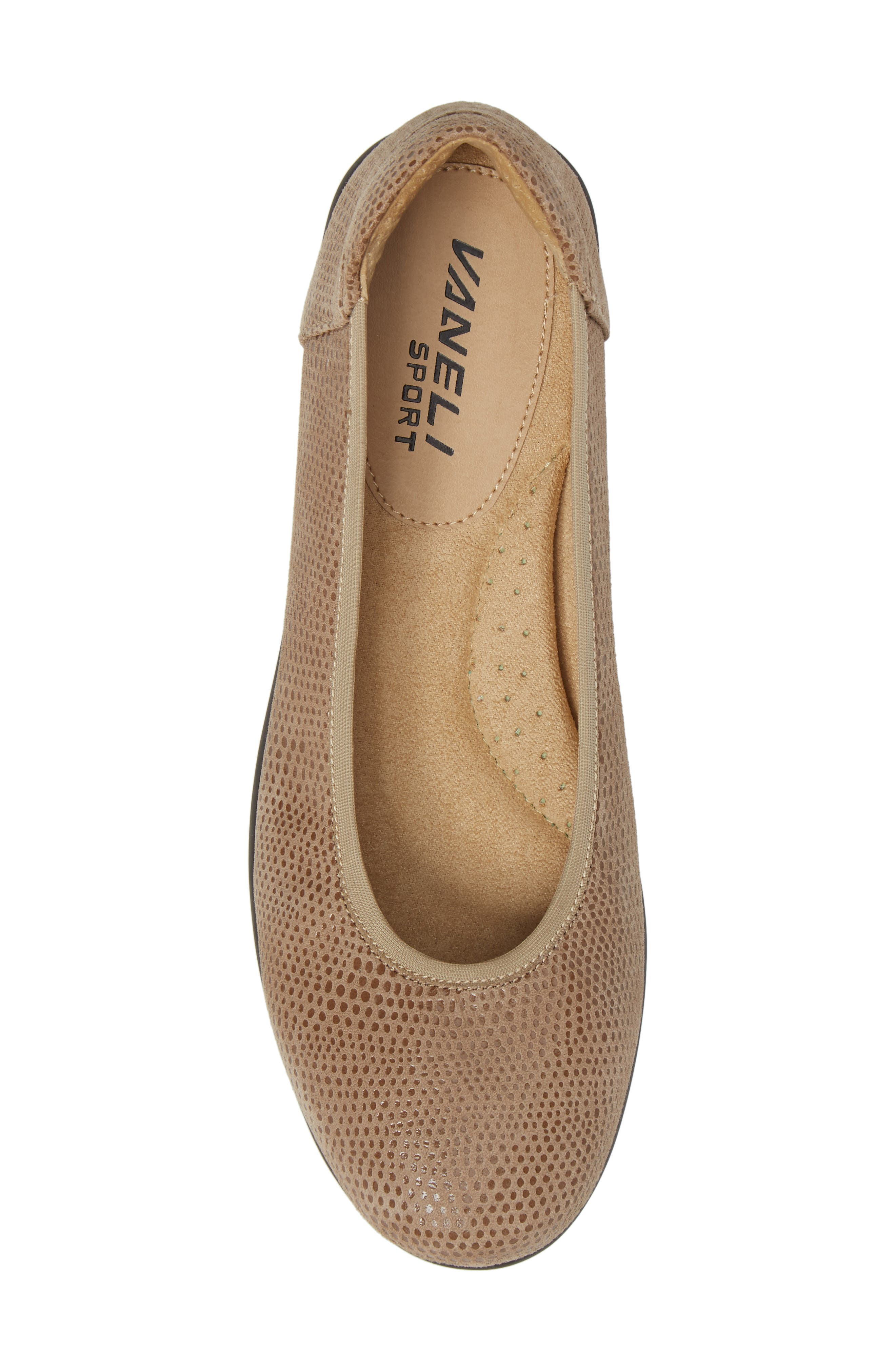 Donia Flat,                             Alternate thumbnail 5, color,                             Taupe Print Fabric