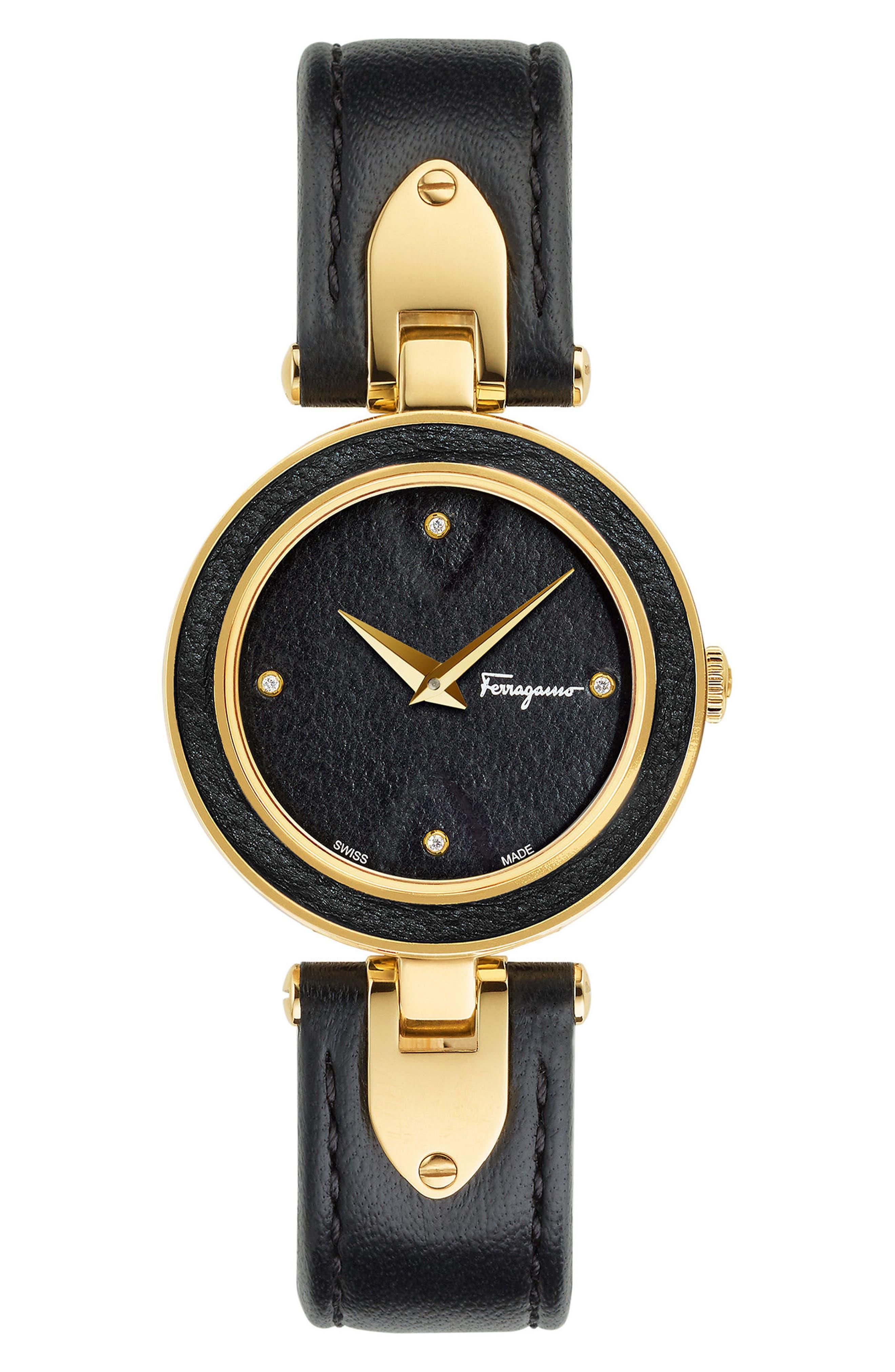 Main Image - Salvatore Ferragamo Giglio Leather Strap Watch, 32mm