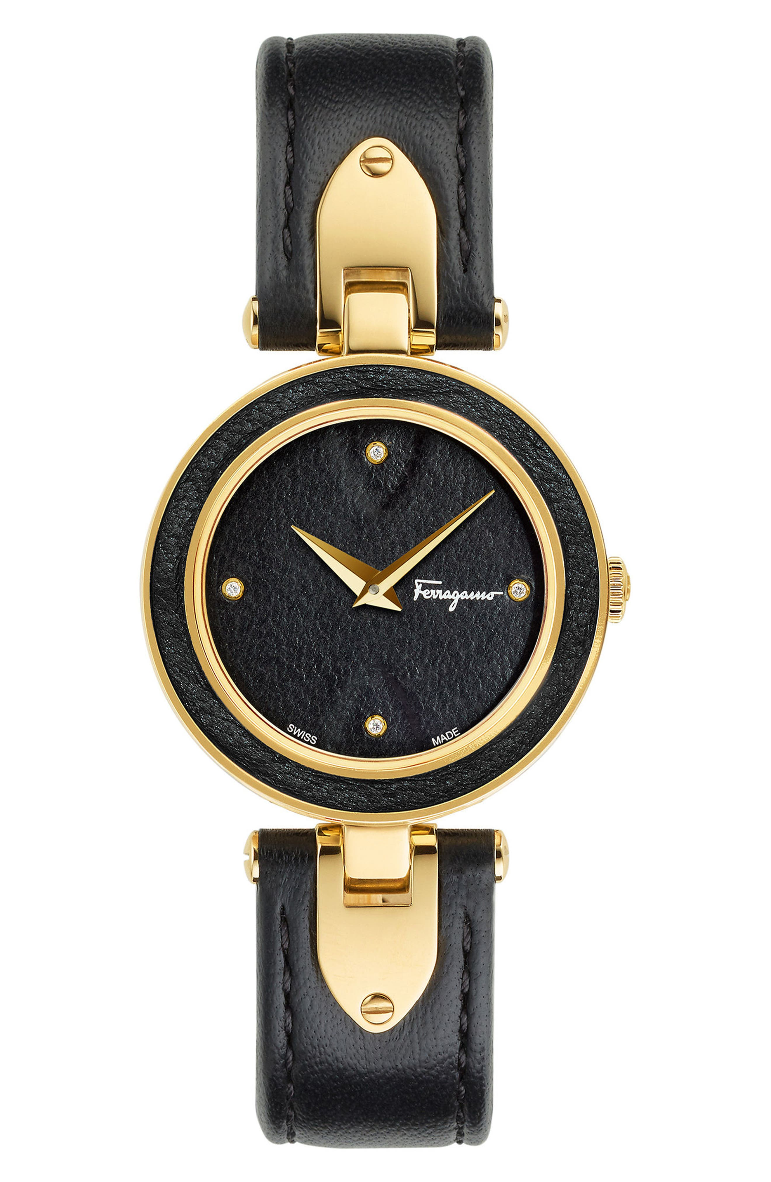 Giglio Leather Strap Watch, 32mm,                         Main,                         color, Black/ Gold