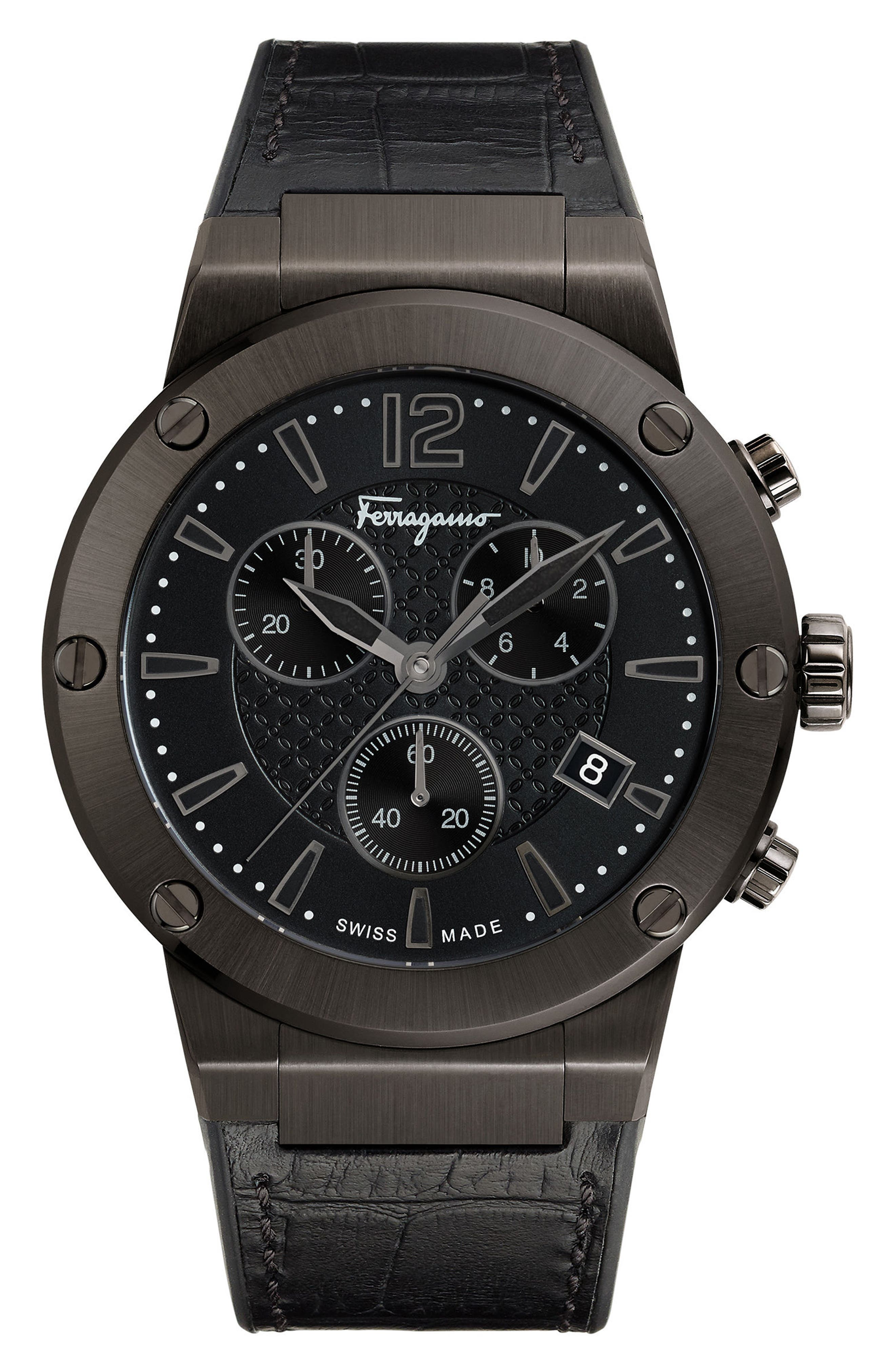 F80 Chronograph Leather Strap Watch, 44mm,                         Main,                         color, Gunmetal/ Black/ Gunmetal