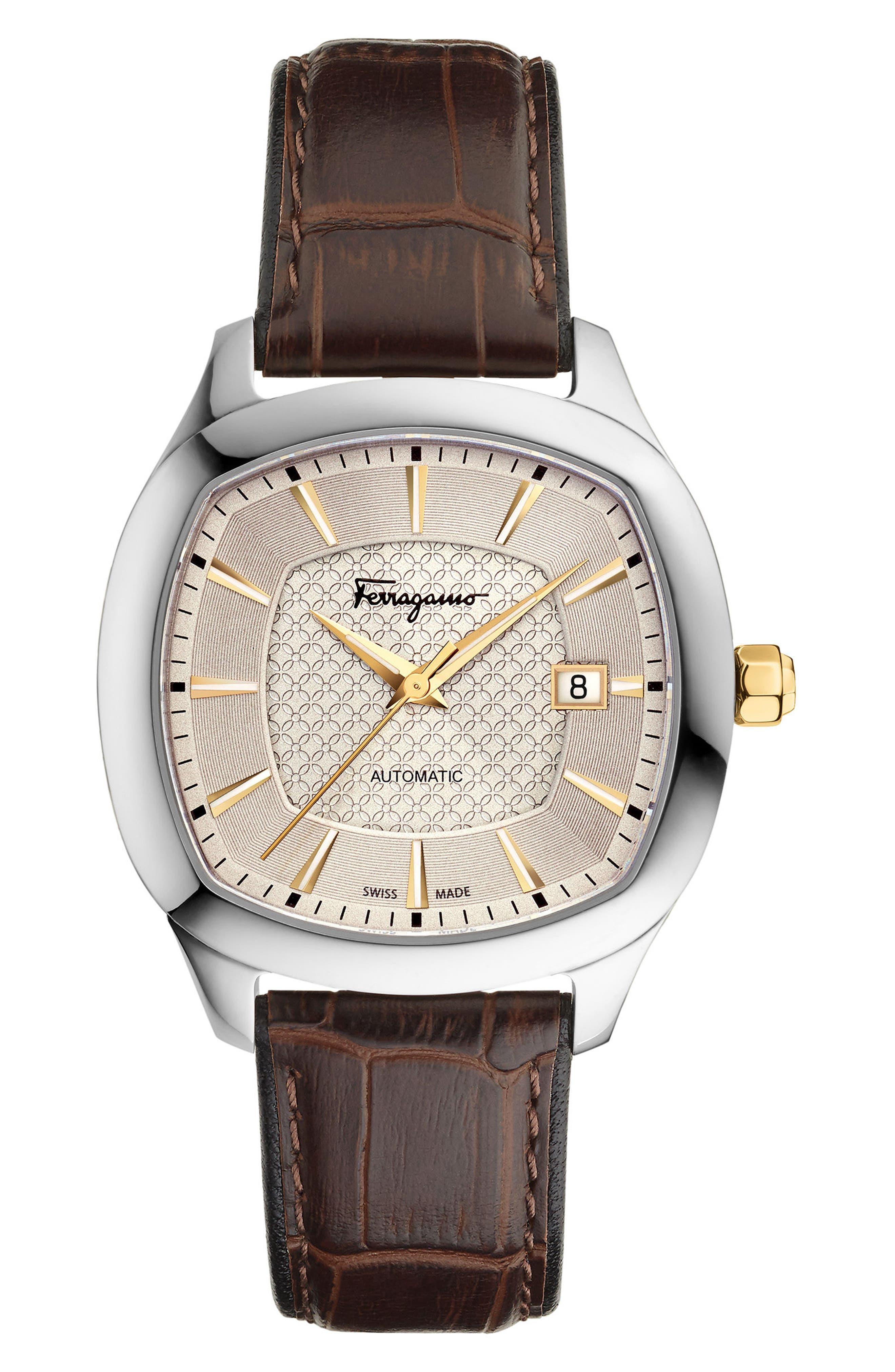 SALVATORE FERRAGAMO Square Automatic Leather Strap Watch, 41mm