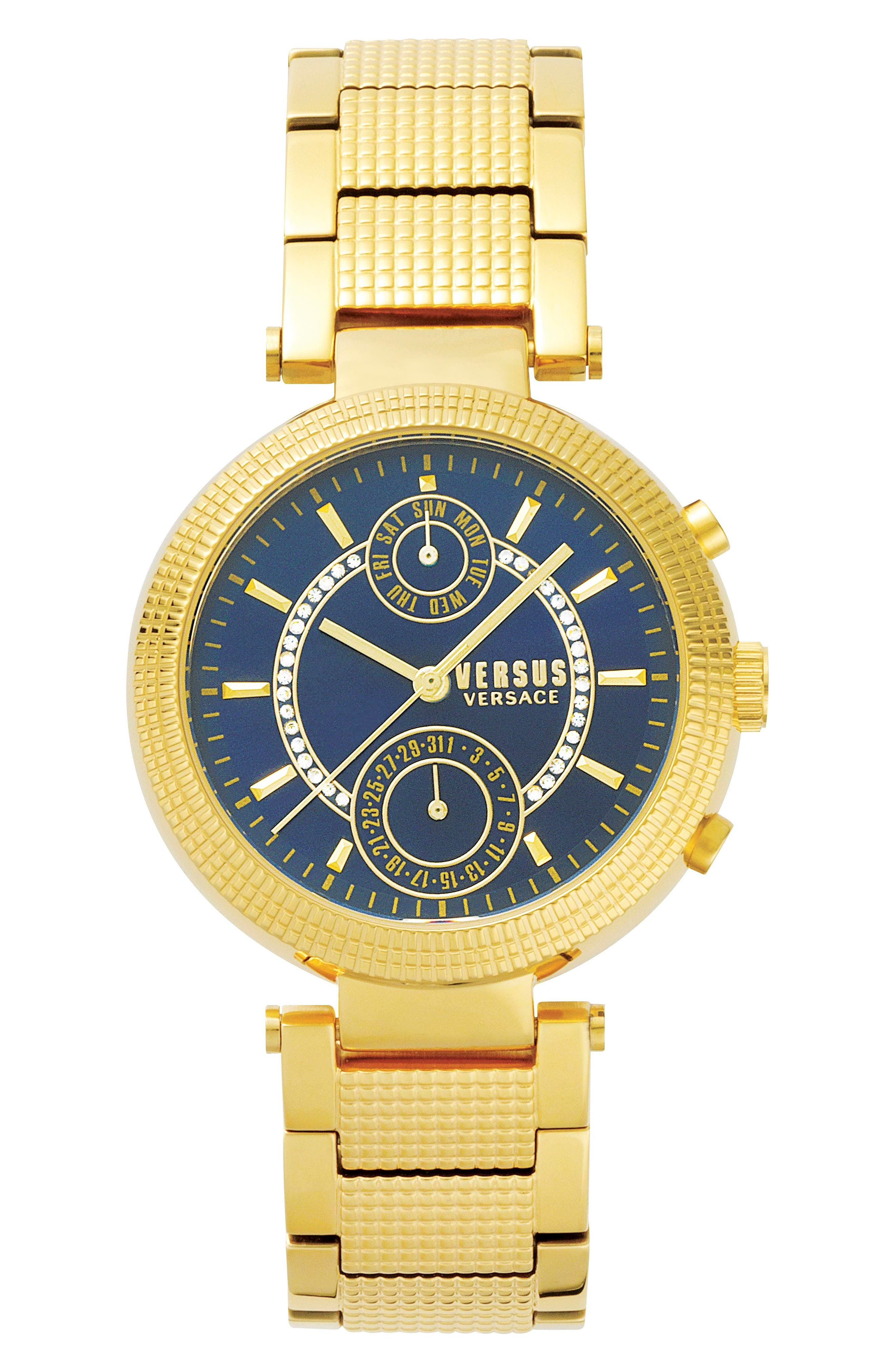 Versus by Versace Star Ferry Chronograph Bracelet Watch, 38mm,                             Main thumbnail 1, color,                             Gold/ Blue/ Gold