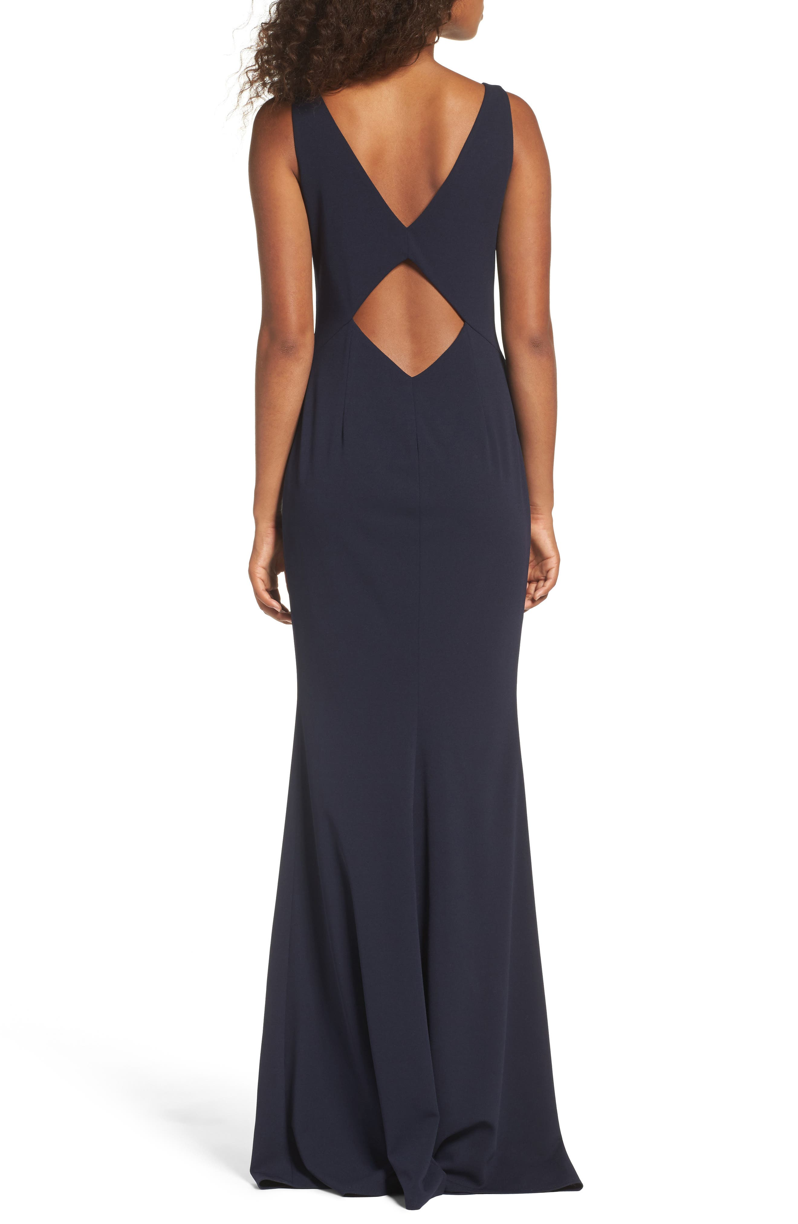 Mischka V-Neck Crepe Gown,                             Alternate thumbnail 2, color,                             Navy