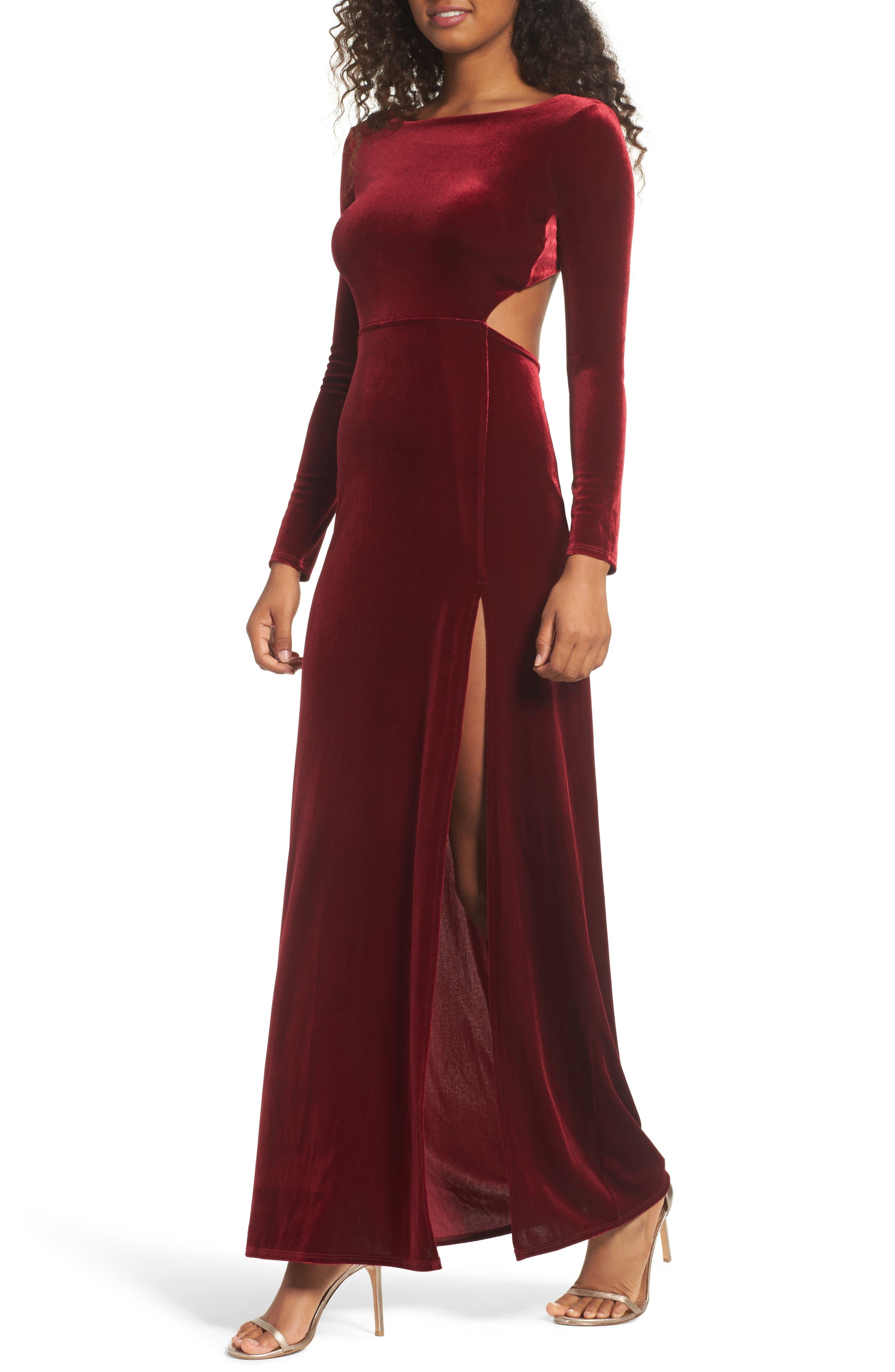 Besame Long Sleeve Velvet Maxi Dress,                         Main,                         color, Burgundy