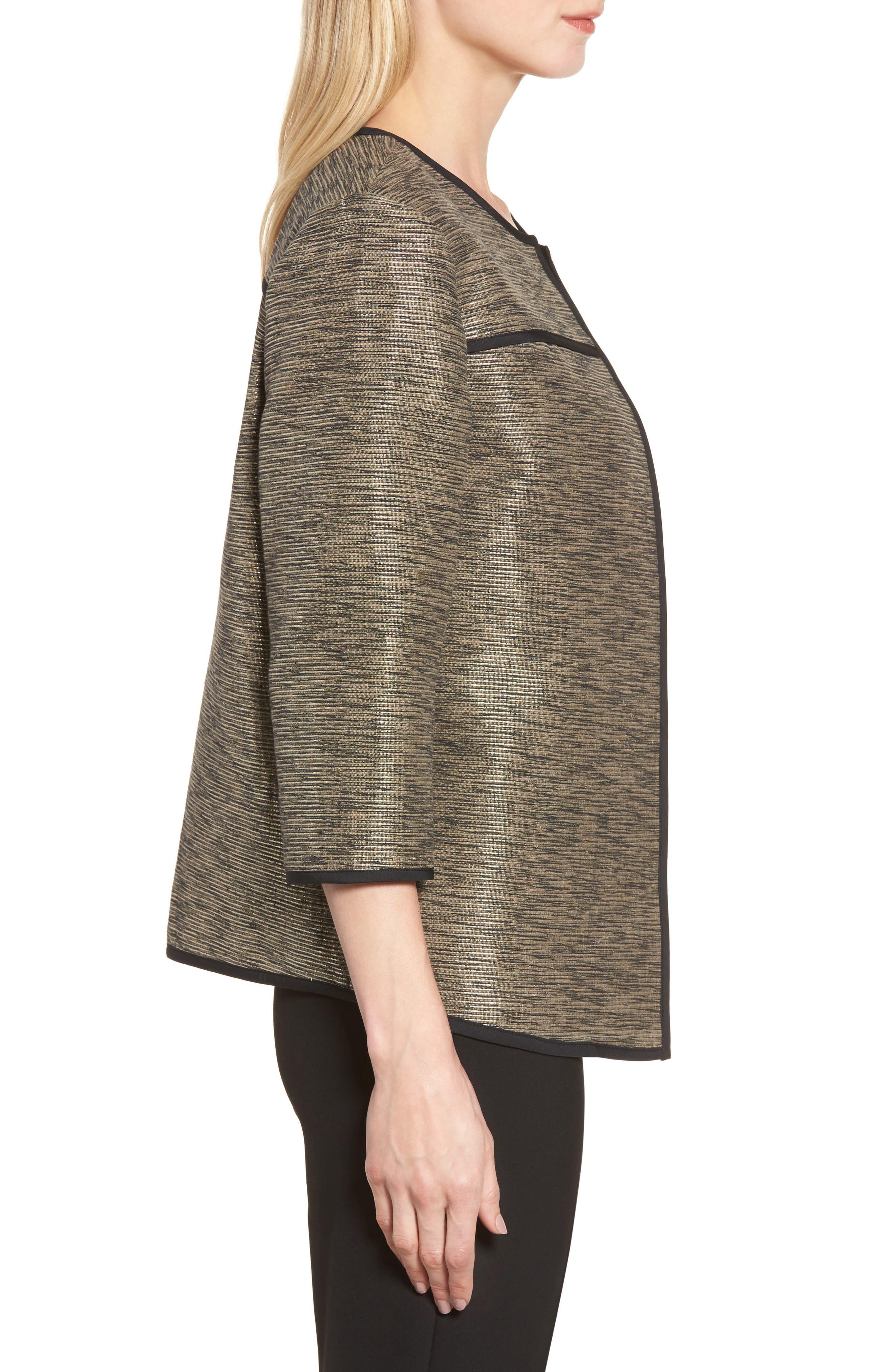 Metallic Tweed Jacket,                             Alternate thumbnail 3, color,                             Ash/ Black/ Cat Eye
