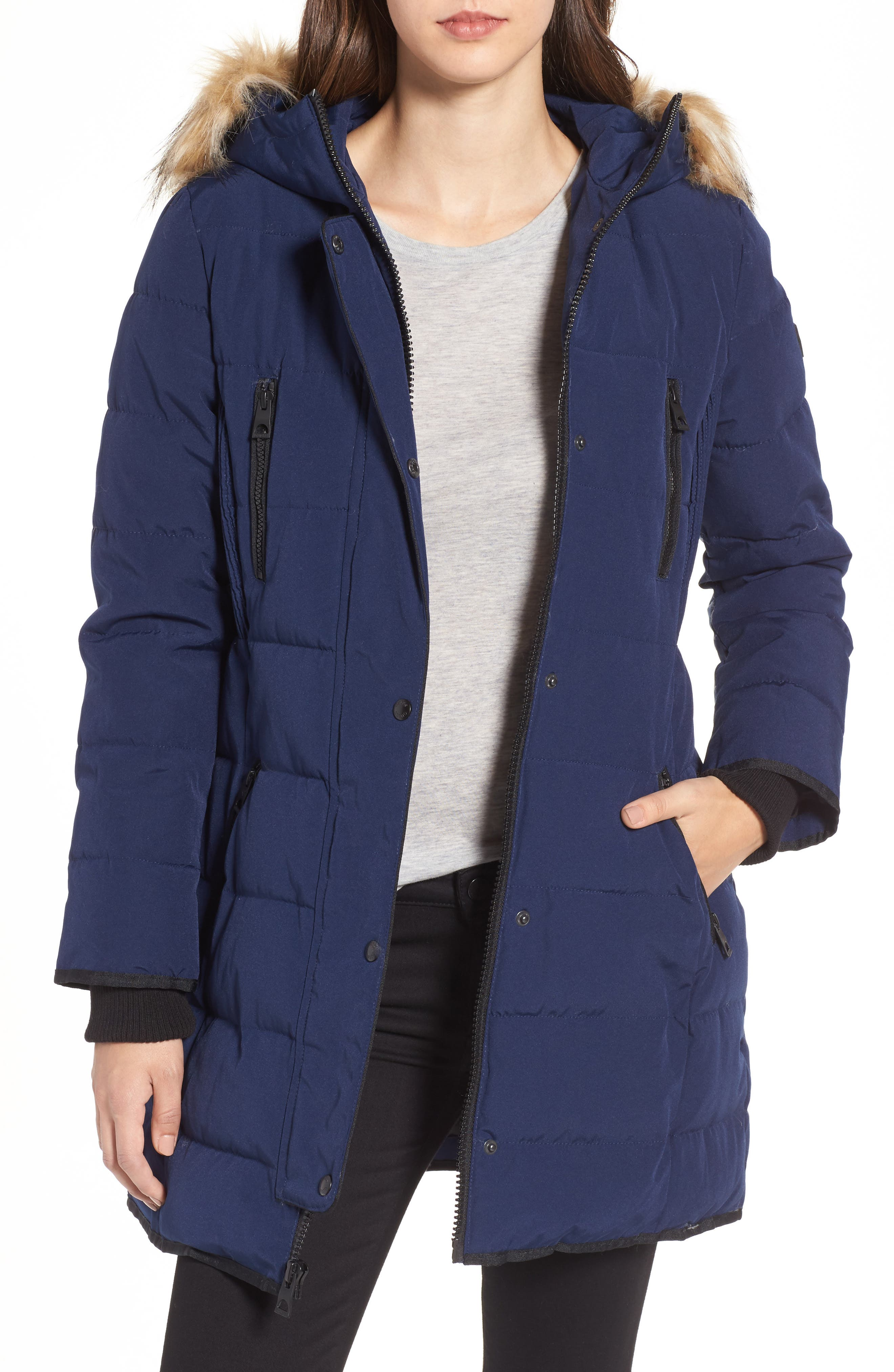 Hooded Jacket with Faux Fur Trim,                         Main,                         color, Navy