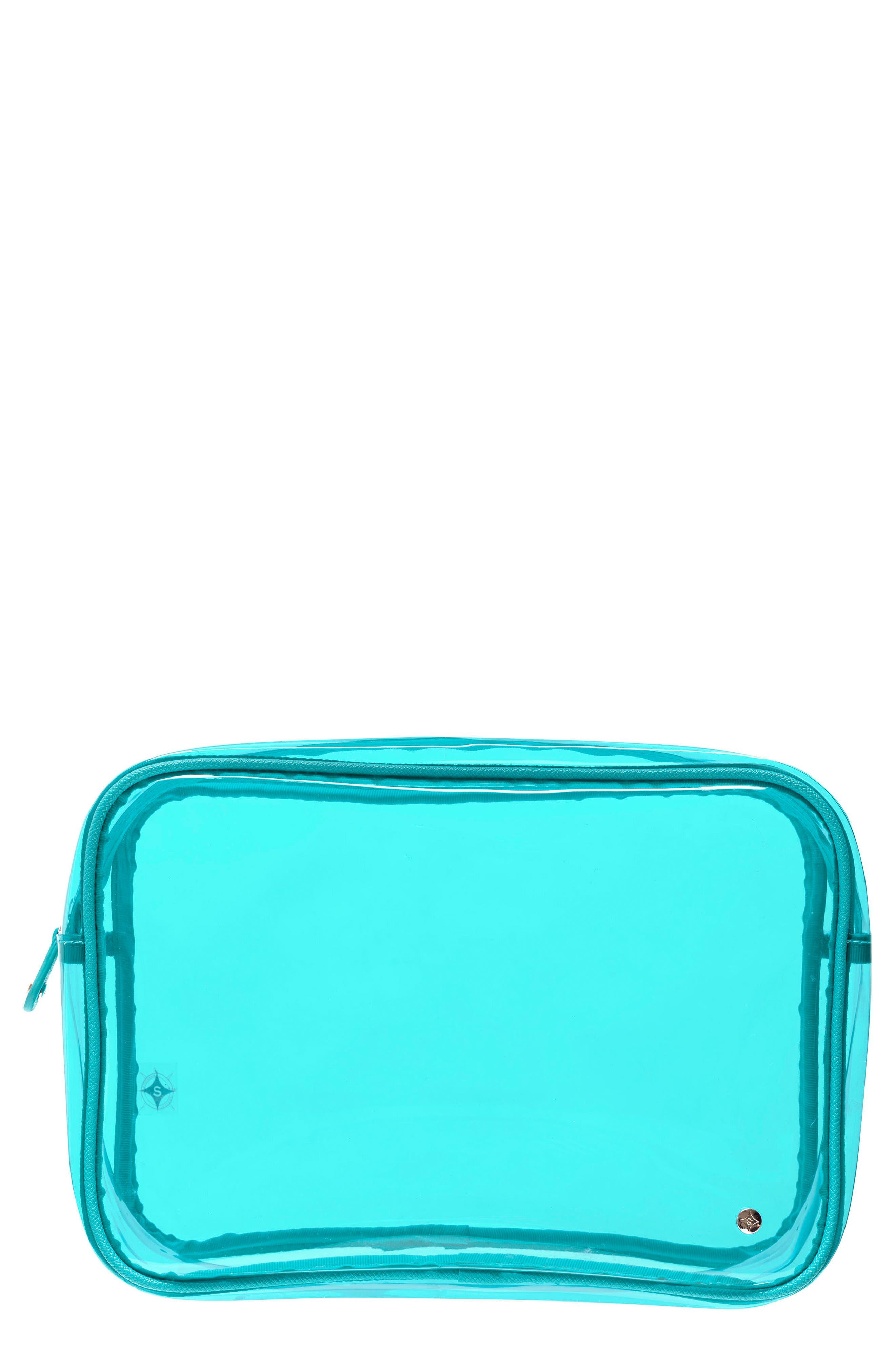 Miami Jumbo Zip Cosmetics Case,                         Main,                         color, Miami Blue