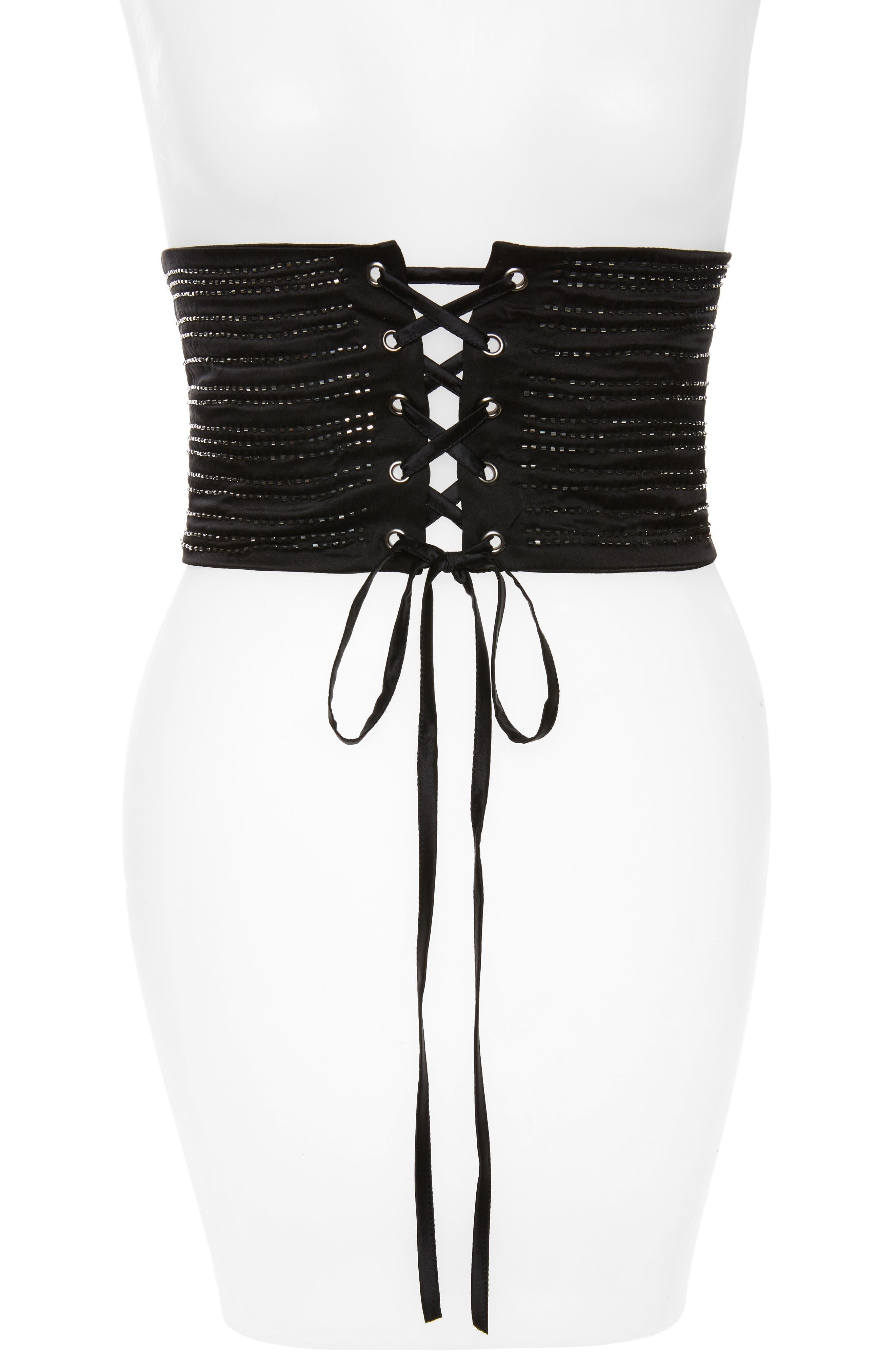 Beaded Silk Corset Belt,                         Main,                         color, Black