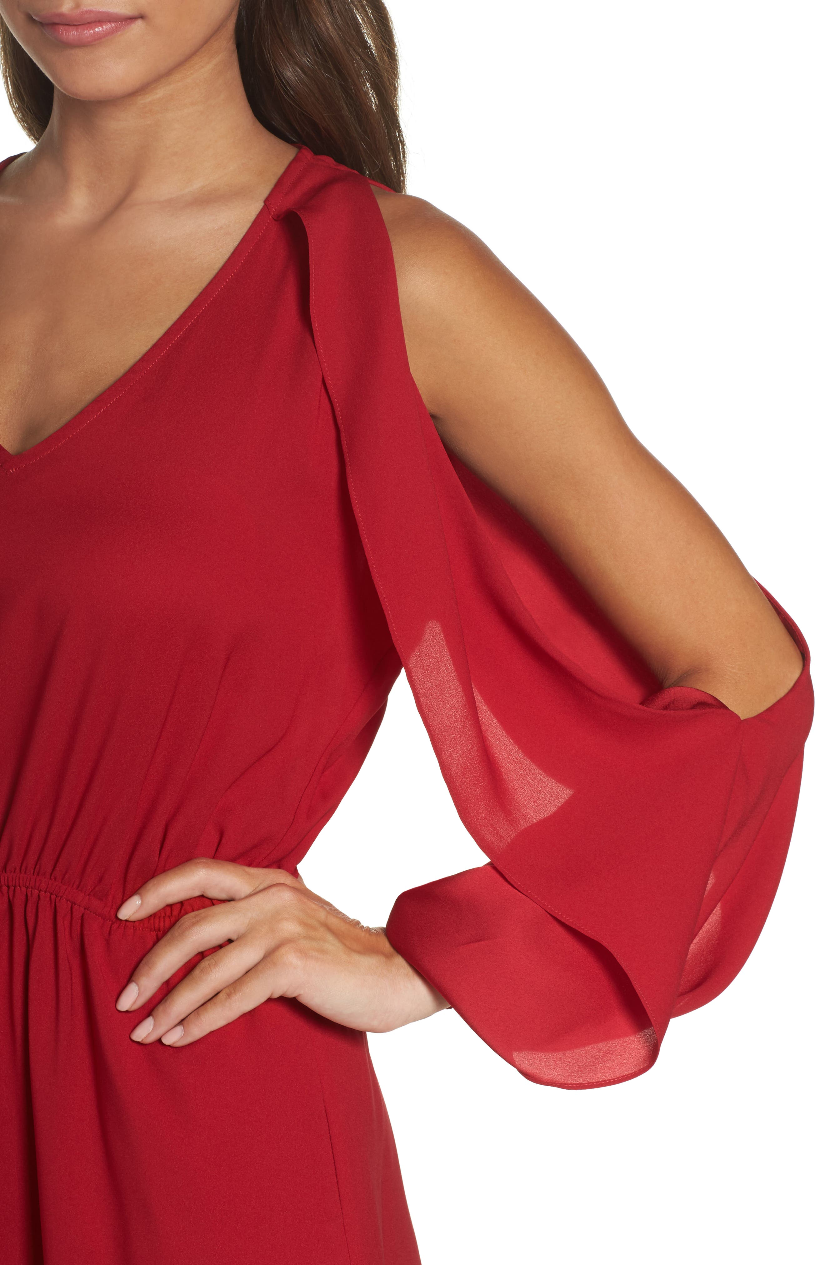 Cold Shoulder Dress,                             Alternate thumbnail 4, color,                             Cherry