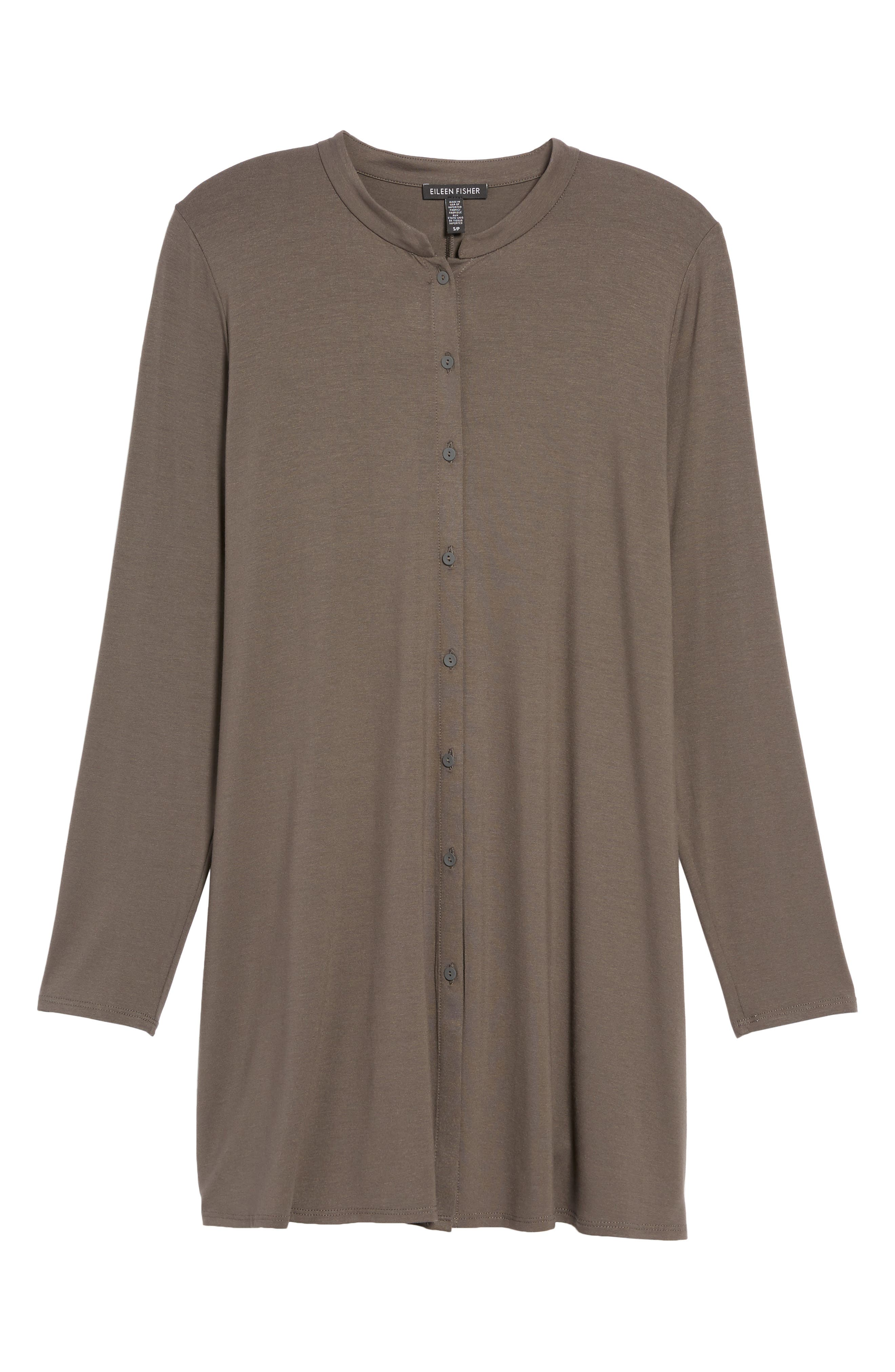 Button Front Jersey Tunic,                             Alternate thumbnail 6, color,                             Bark