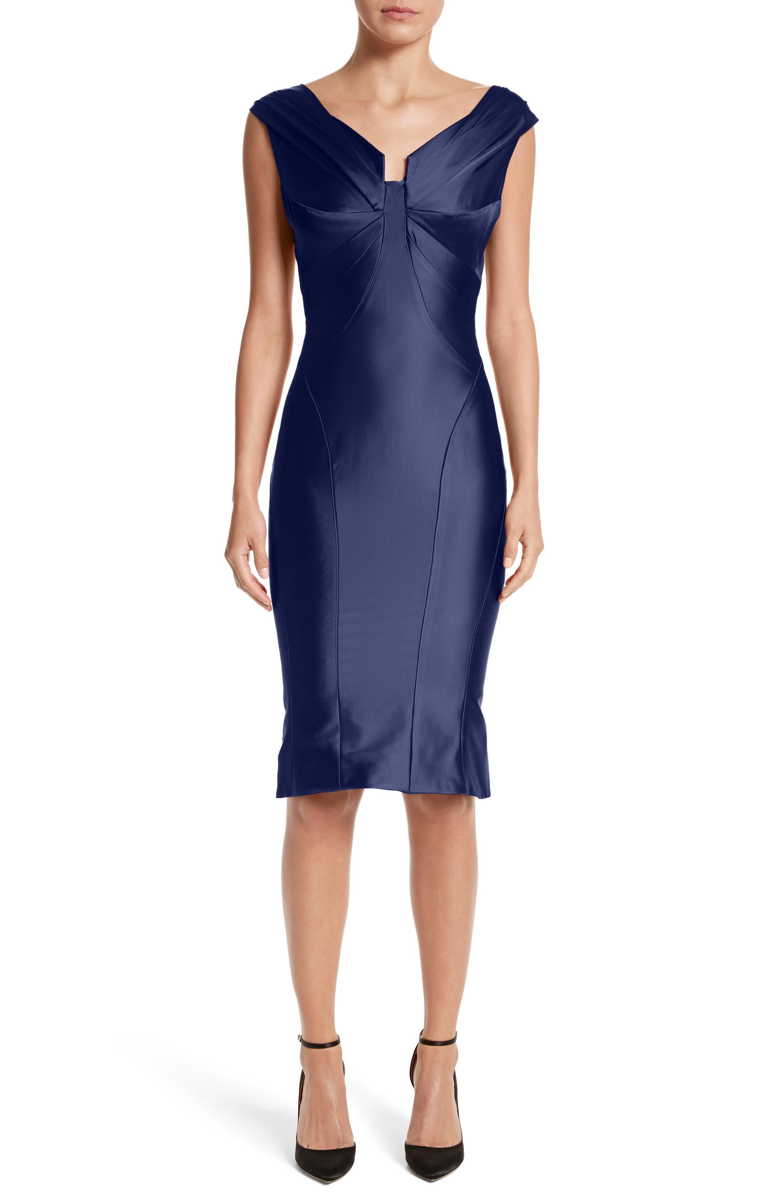 Zac Posen Structured V-Neck Sheath Dress