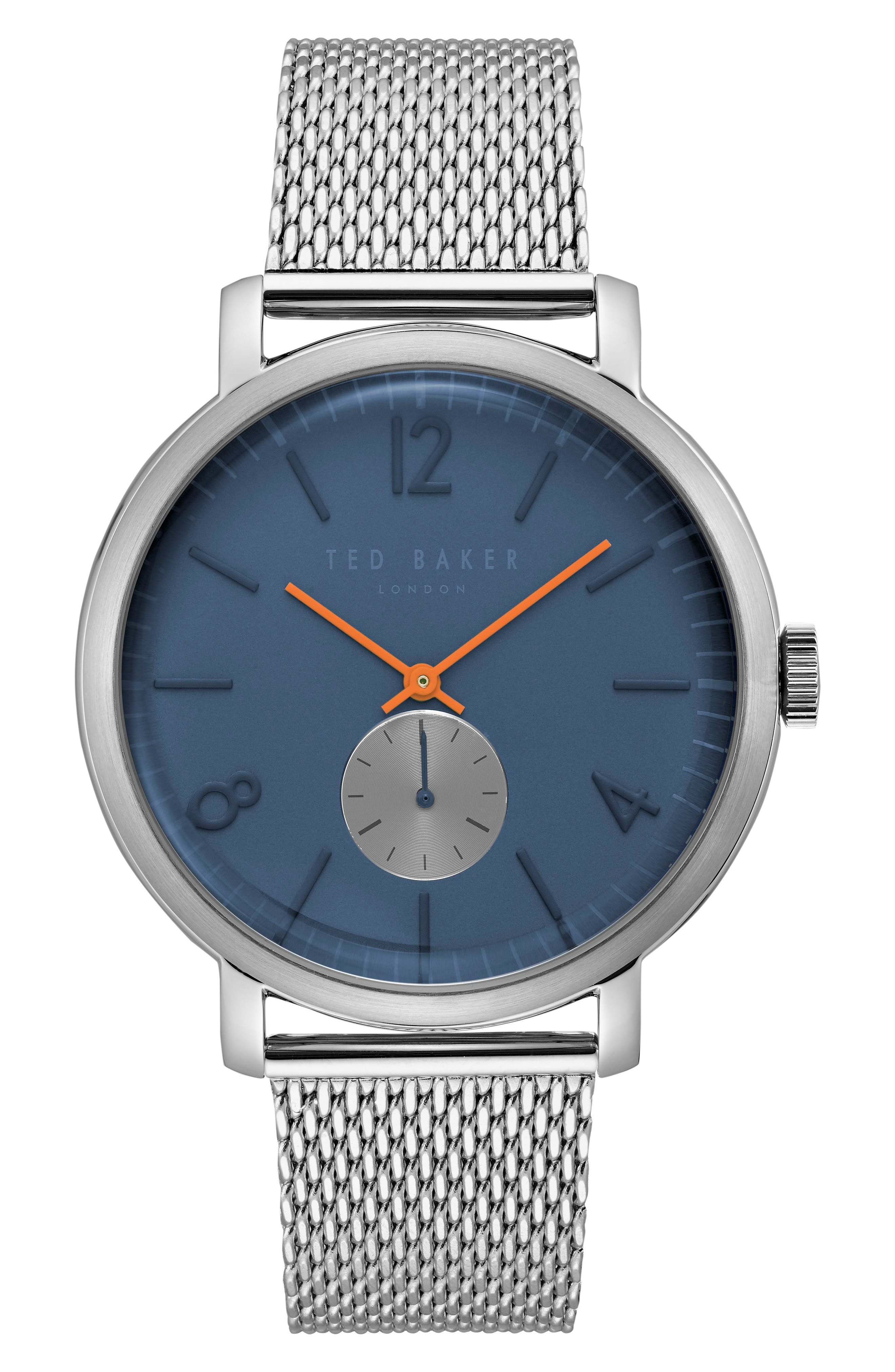 Oliver Mesh Strap Watch, 44mm,                         Main,                         color, Dark Blue/ Stainless Steel