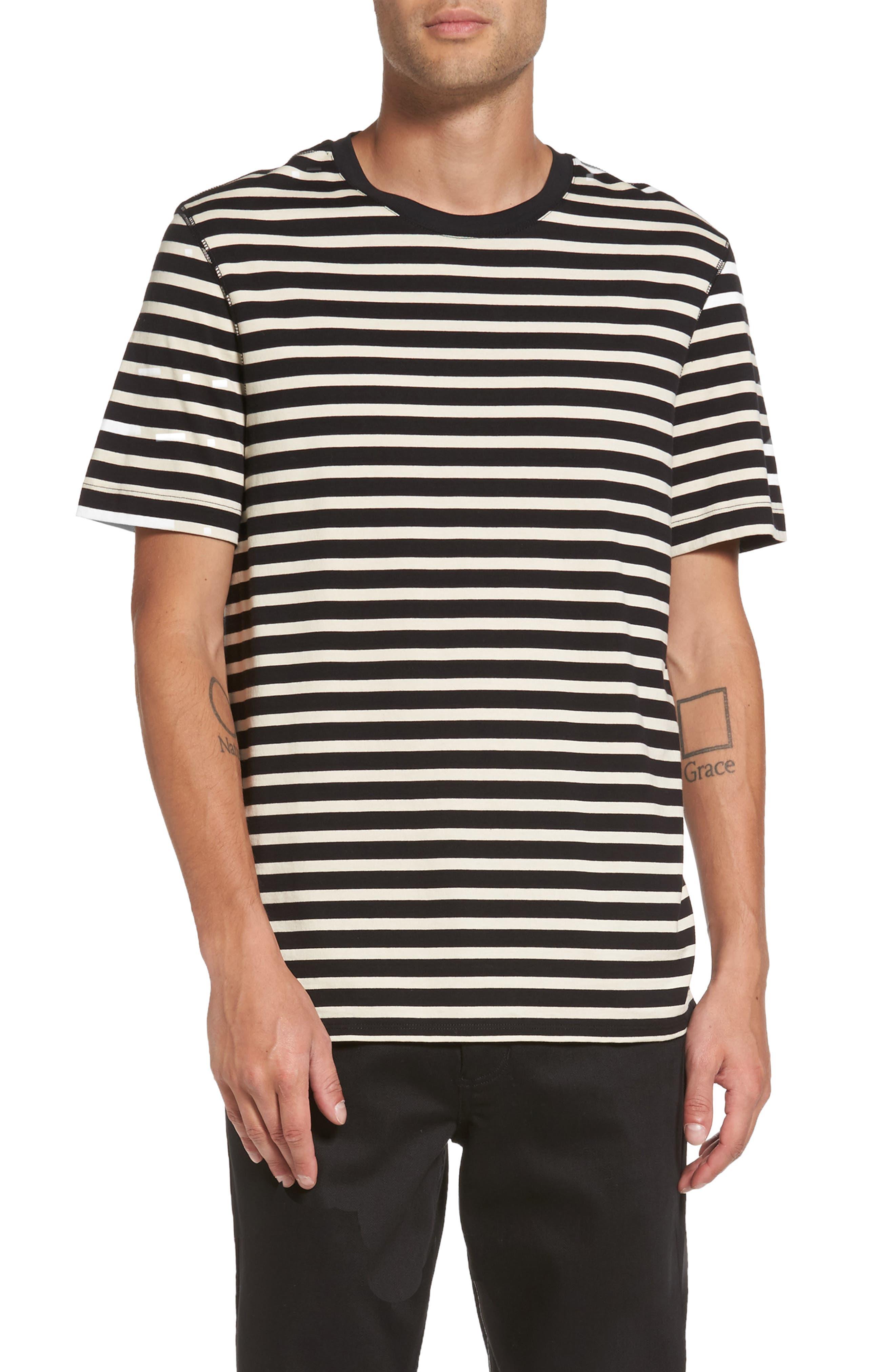 Stripe T-Shirt,                             Main thumbnail 1, color,                             Black/ Off White