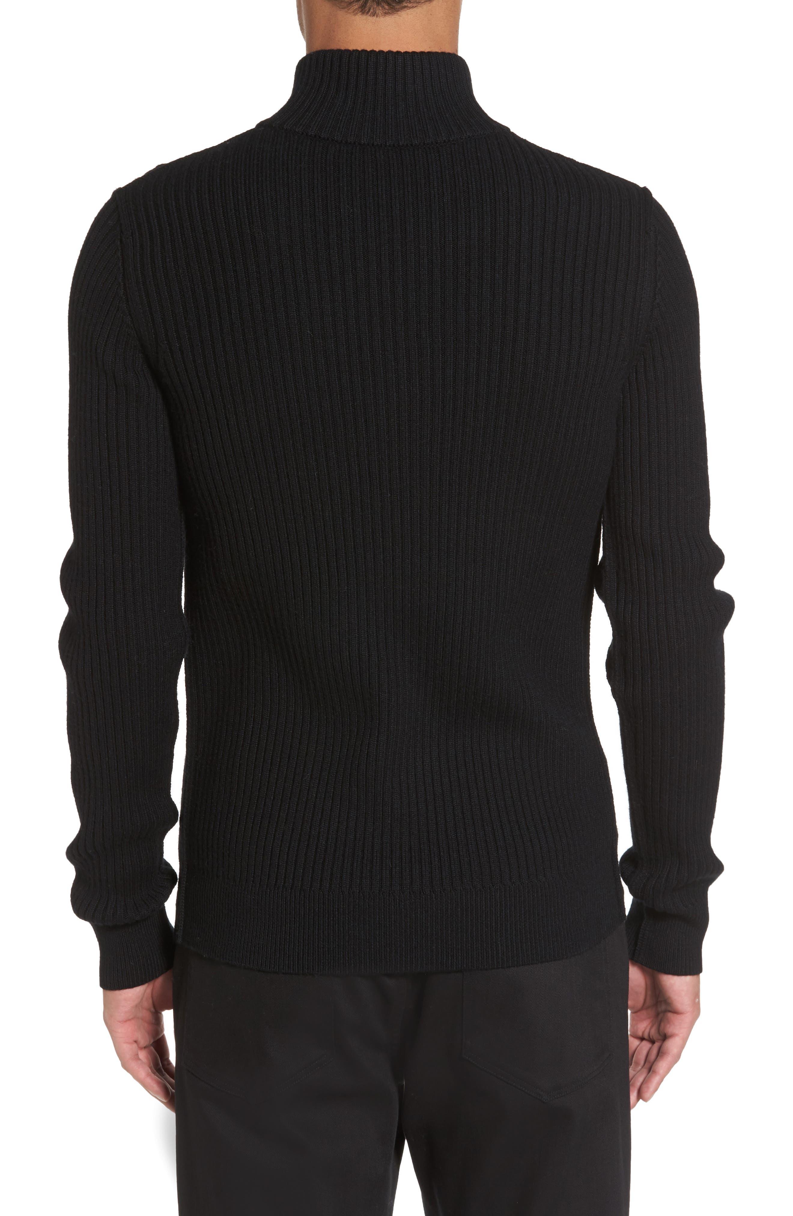 Ribbed Quarter Zip Mock Neck Sweater,                             Alternate thumbnail 2, color,                             Black