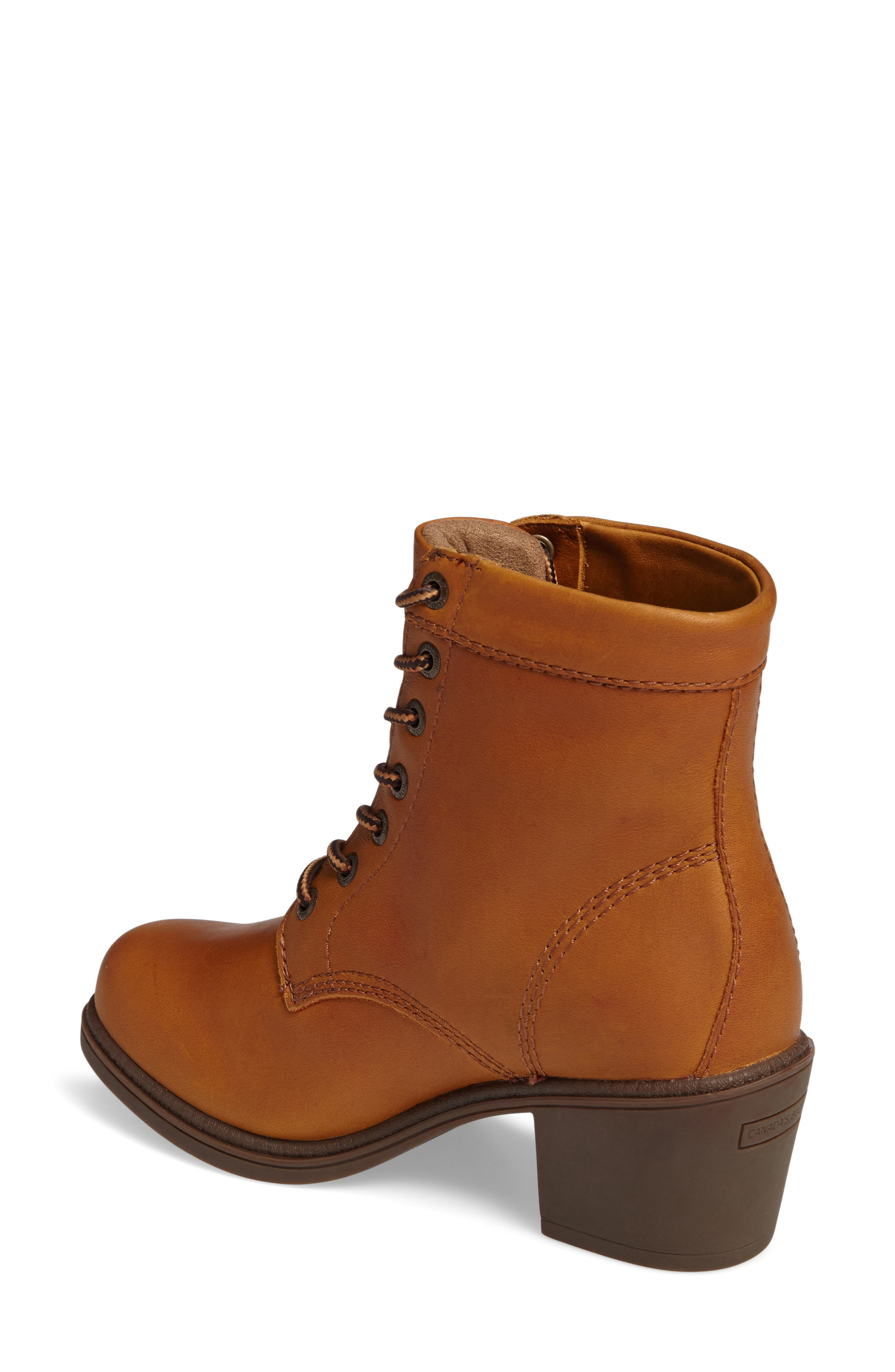 Claire Waterproof Bootie,                             Alternate thumbnail 2, color,                             Caramel Leather