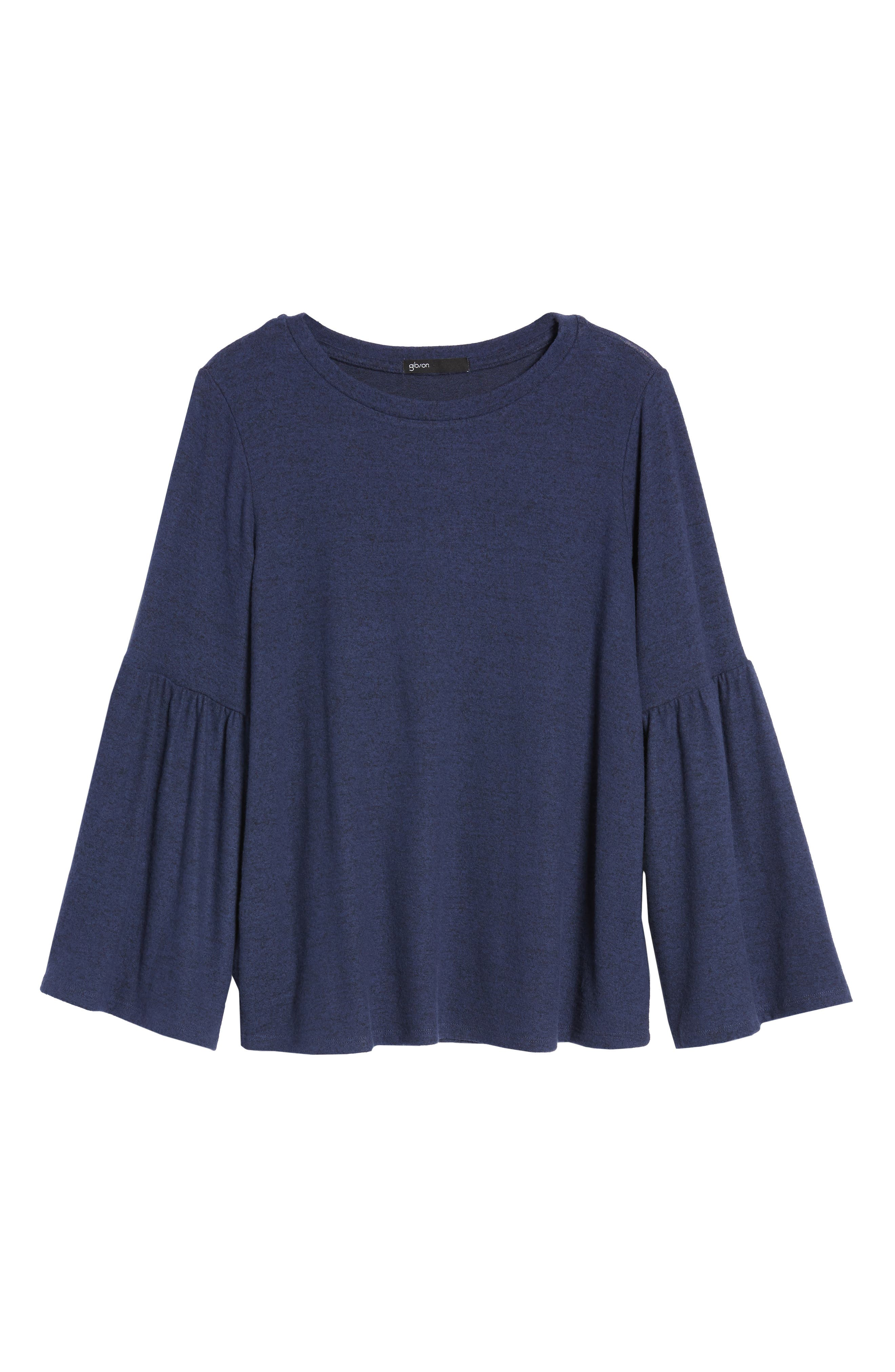 Bell Sleeve Cozy Fleece Pullover,                         Main,                         color, Eclipse