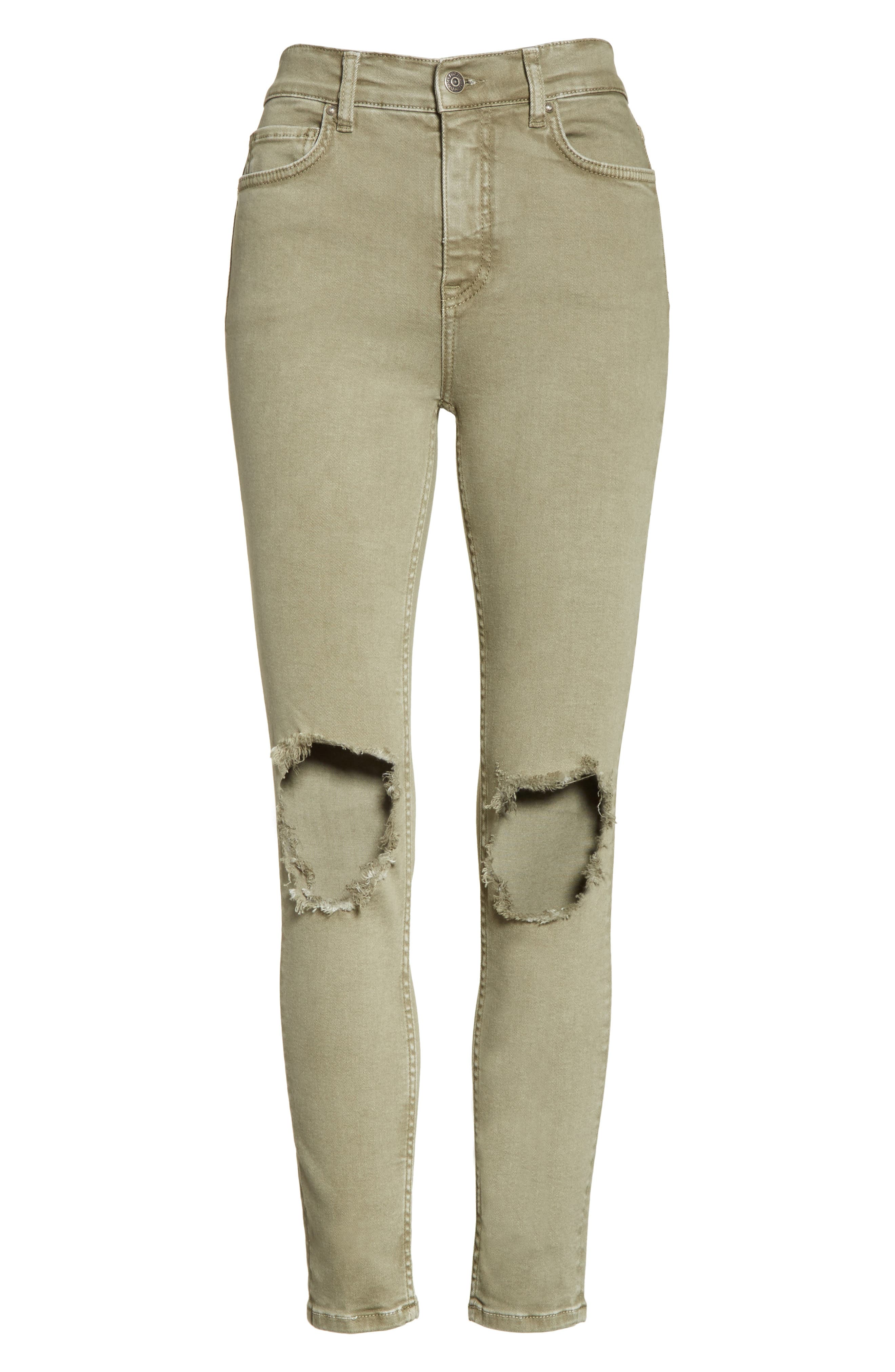Alternate Image 6  - Free People High Rise Busted Knee Skinny Jeans (Moss)