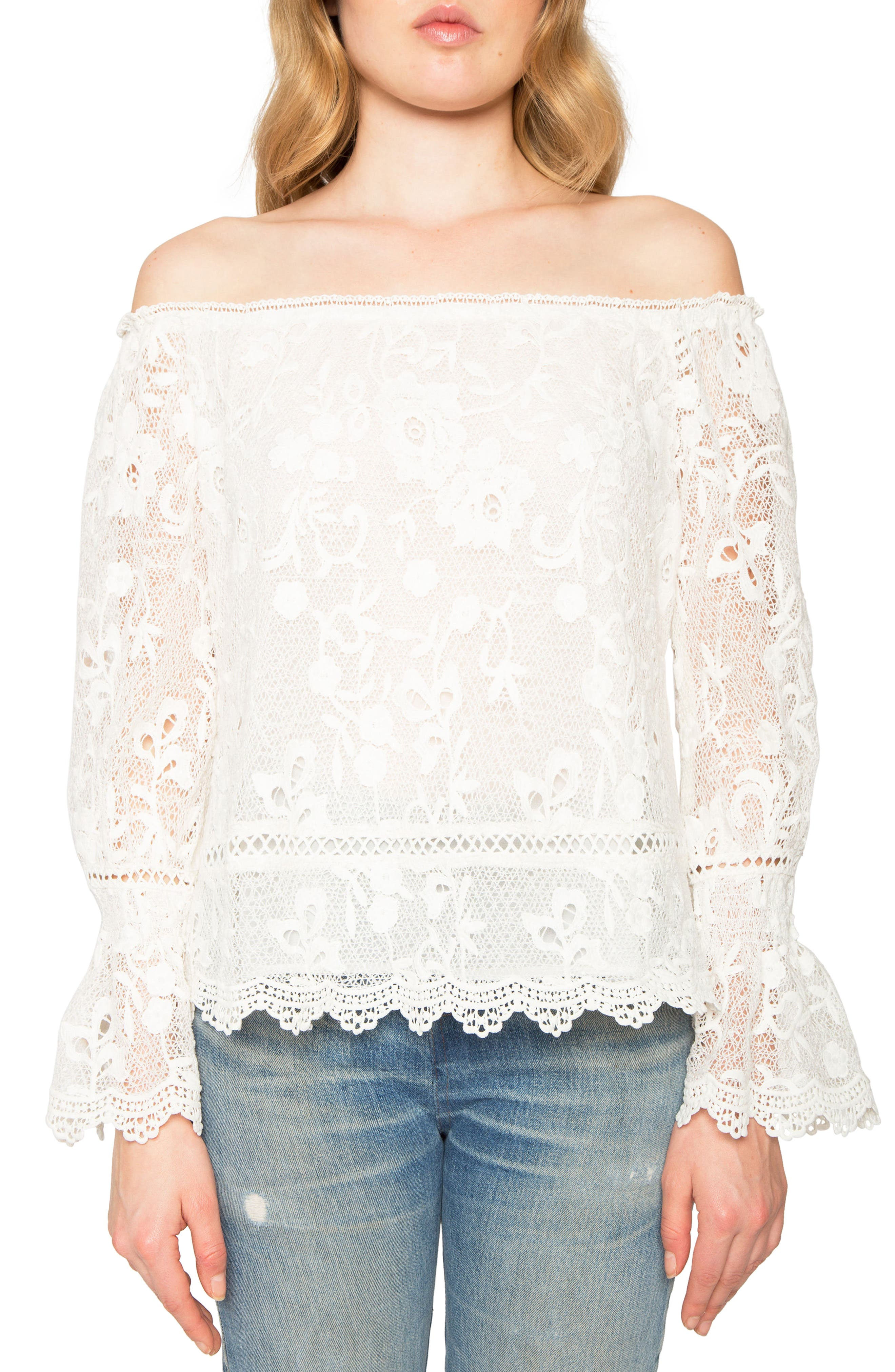 Lace Off the Shoulder Top,                         Main,                         color, Ivory