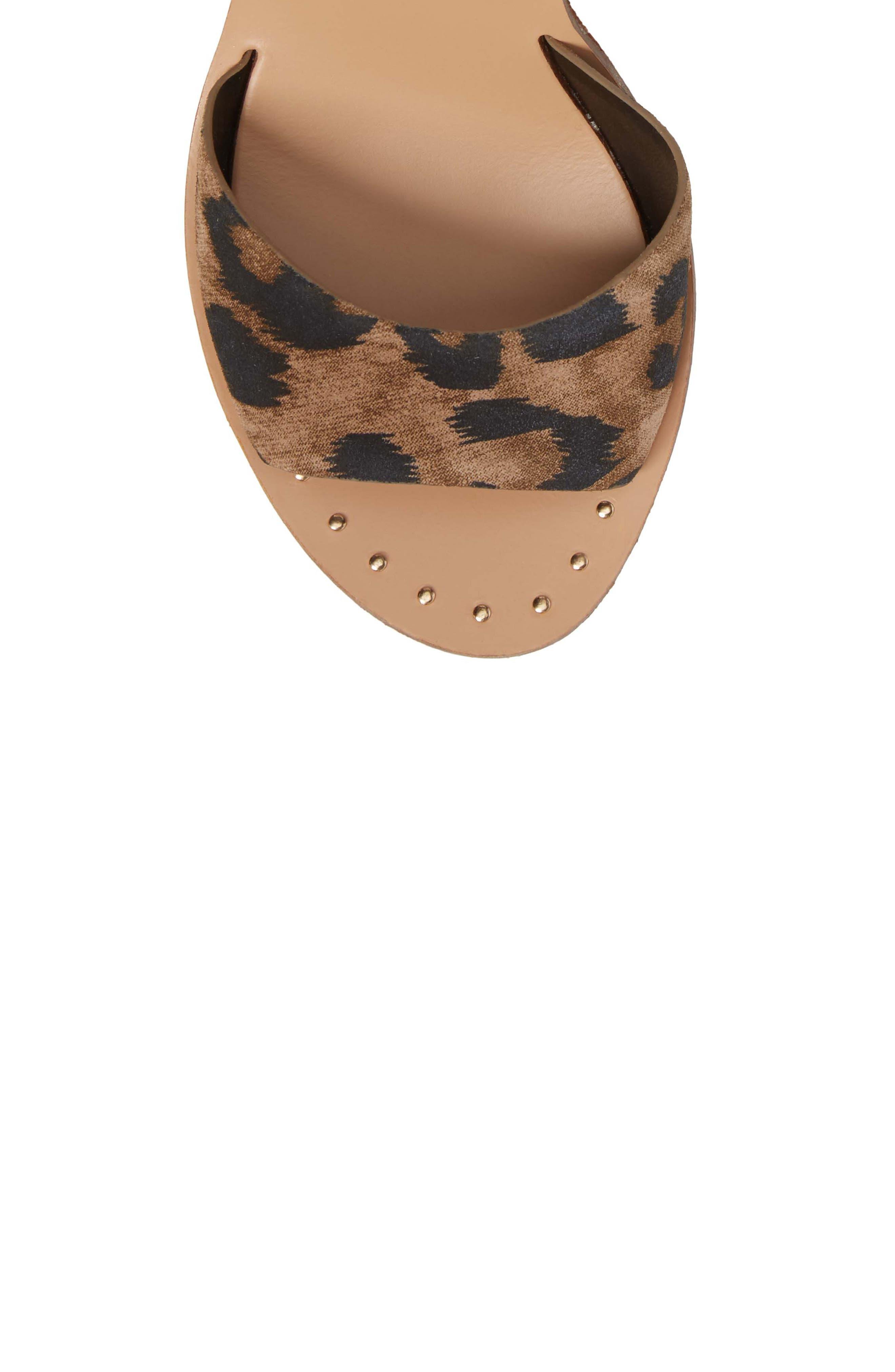 Platform Wedge Sandal,                             Alternate thumbnail 5, color,                             Leopard