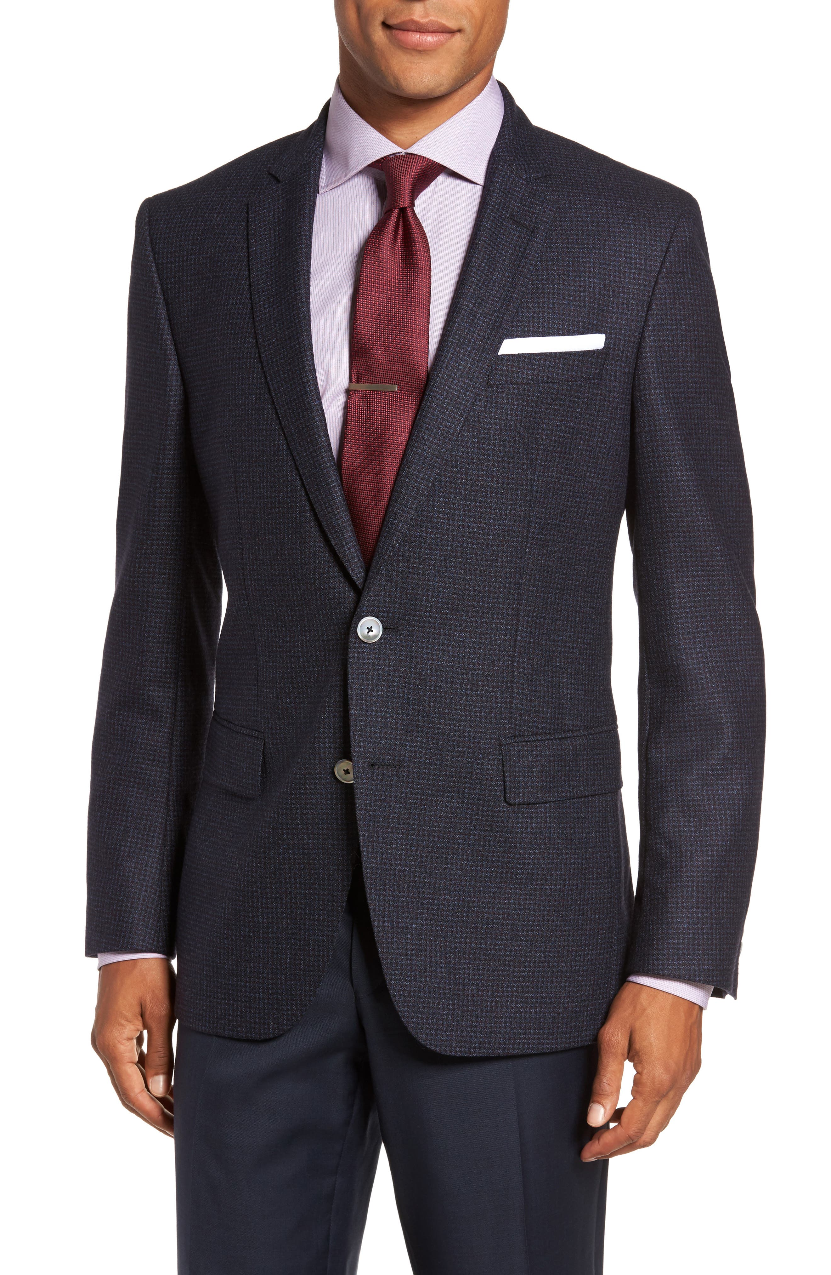 BOSS Hutsons Trim Fit Houndstooth Wool Sport Coat