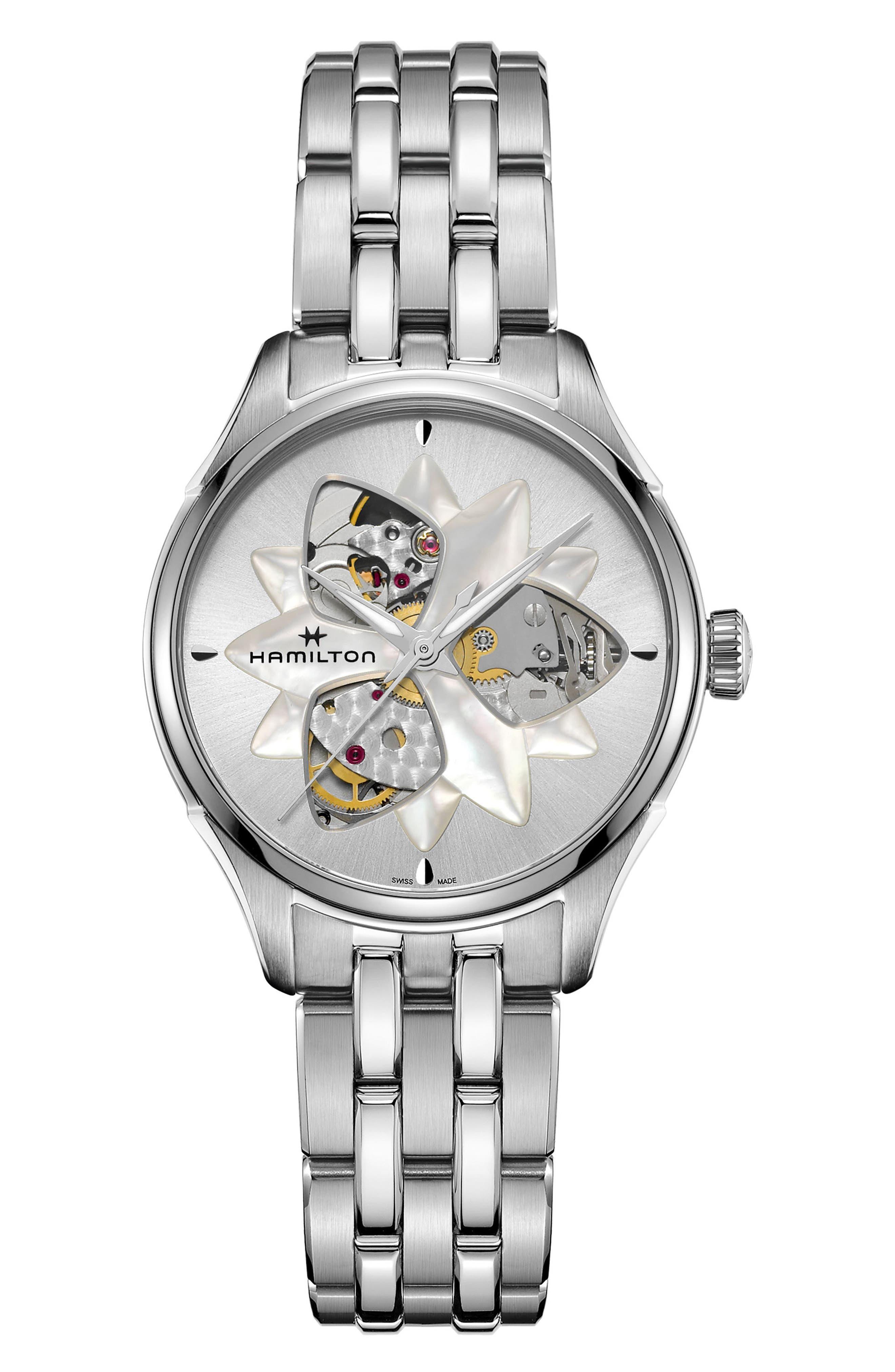 Jazzmaster Viewmatic Open Heart Bracelet Watch, 34mm,                         Main,                         color, Silver/ Mop/ Silver