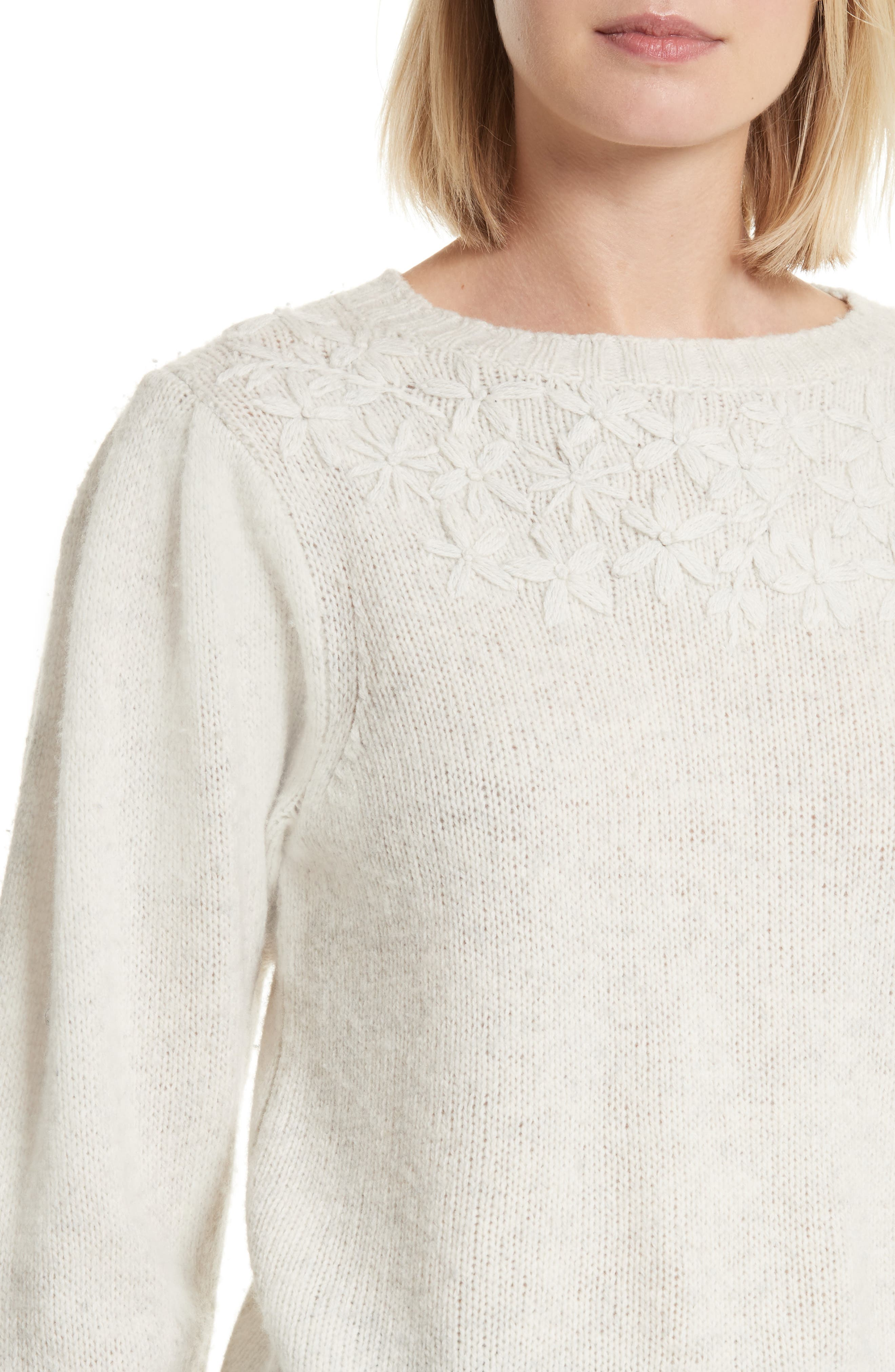 Floral Embroidered Pullover,                             Alternate thumbnail 4, color,                             Opaline Heather