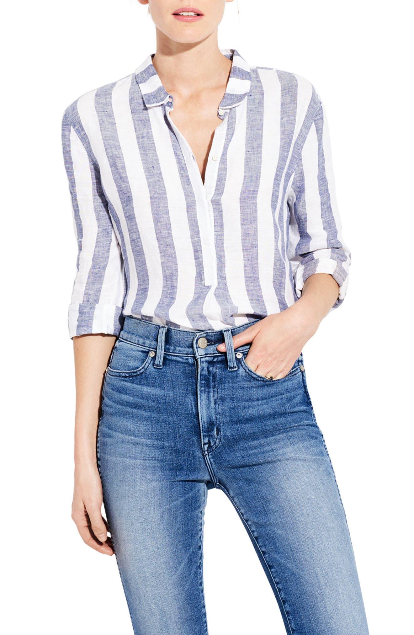 The Easy Linen Shirt,                             Main thumbnail 1, color,                             Bold Stripe