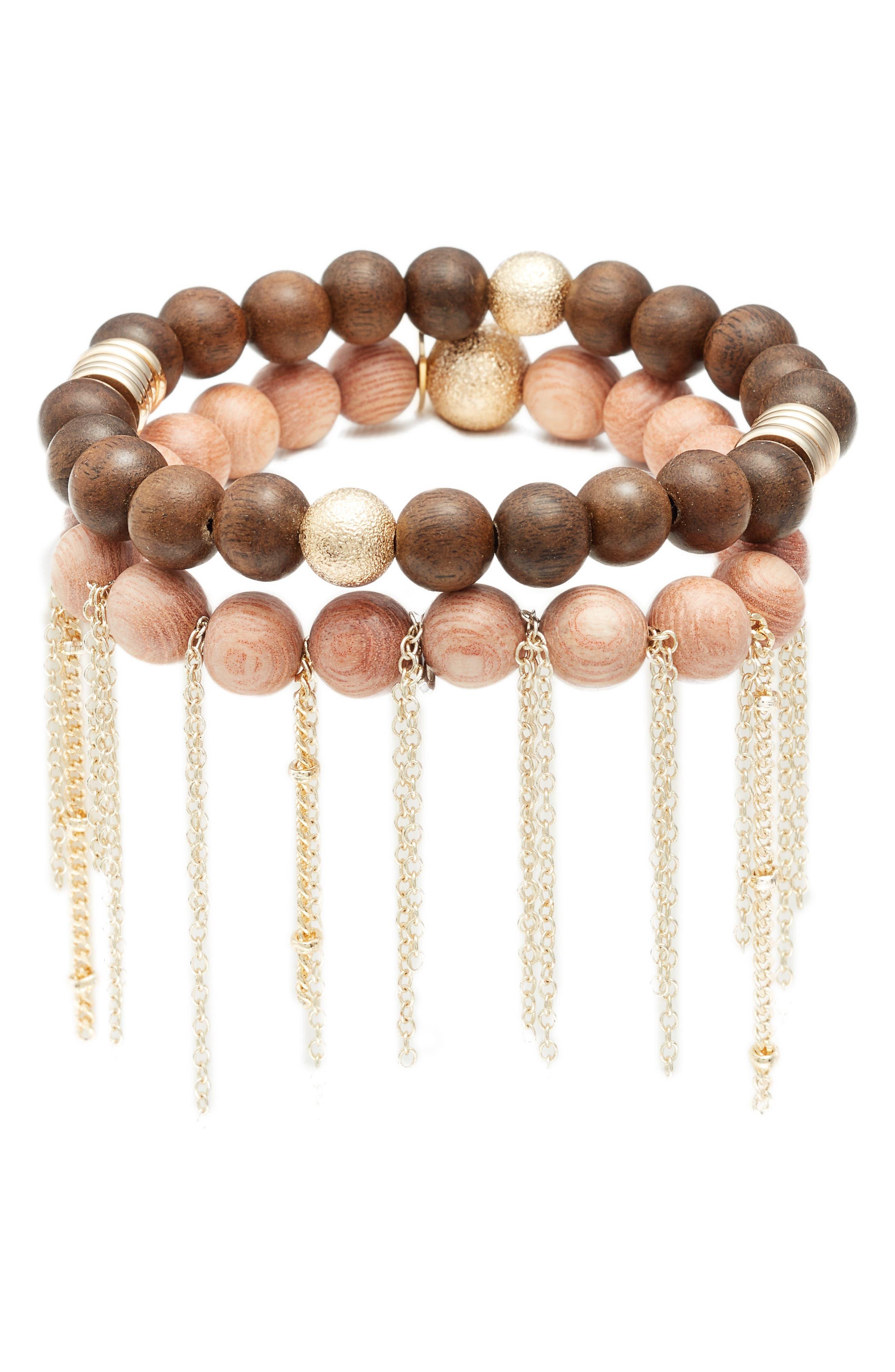 Set of 2 Bead Stretch Bracelet,                         Main,                         color, Rosewood
