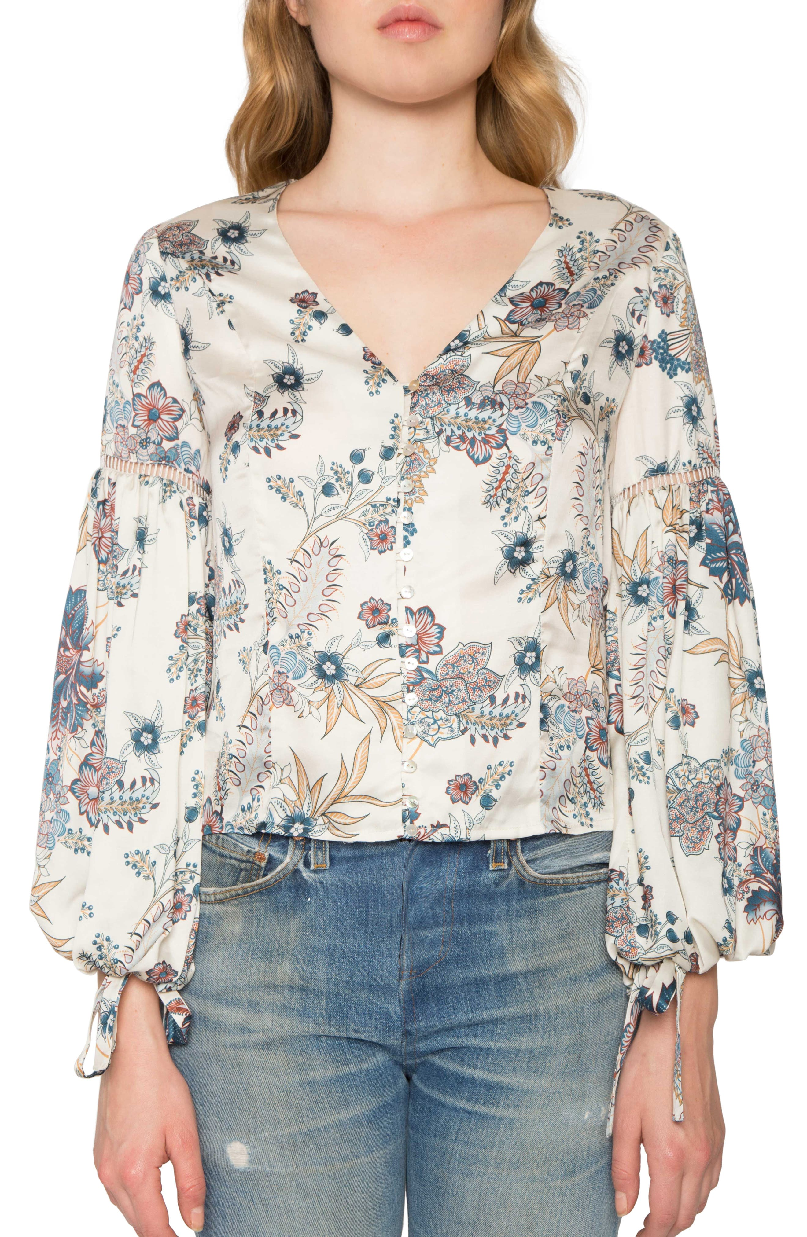 Main Image - Willow & Clay Print Tie Cuff Blouse