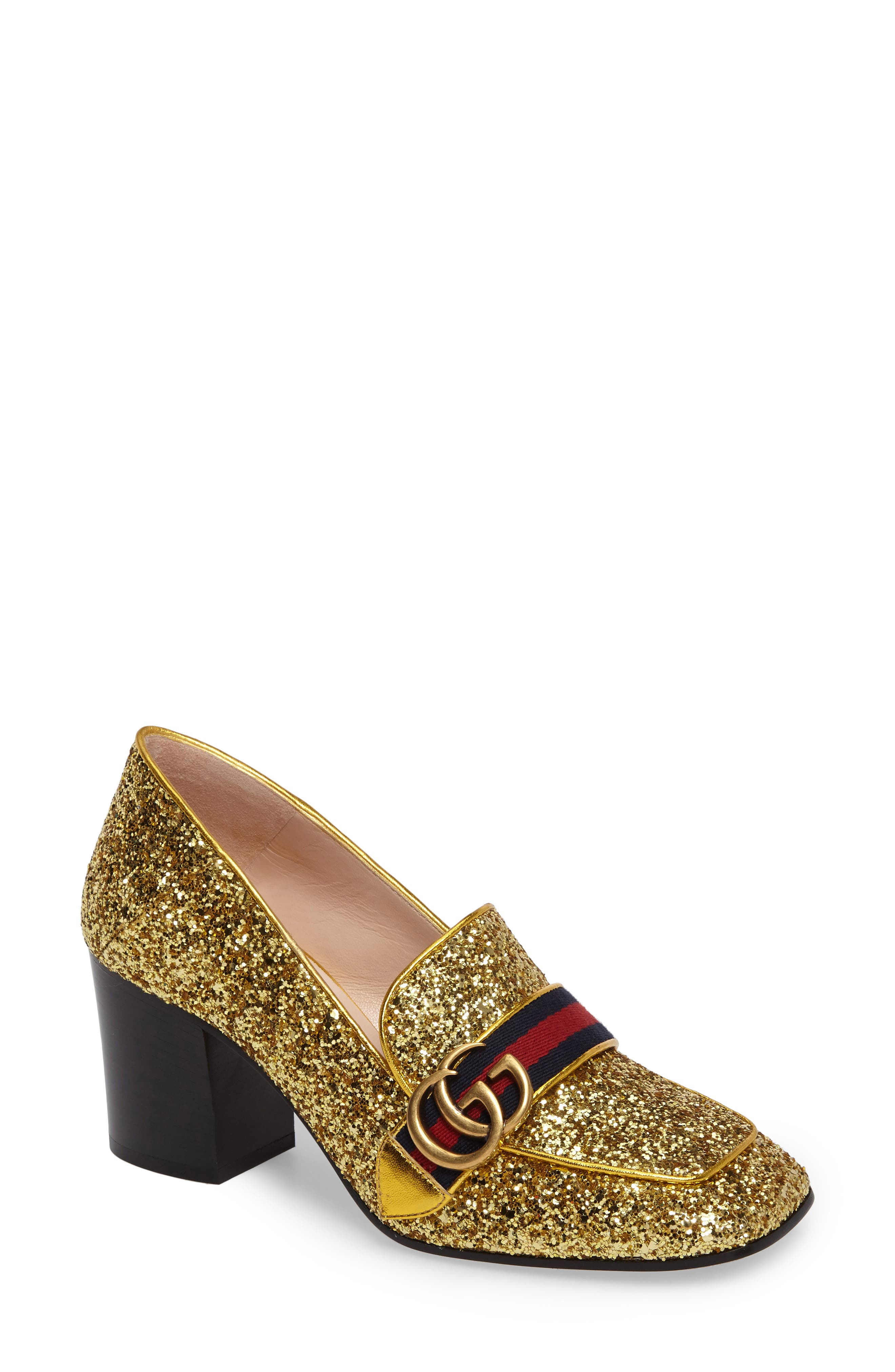 Main Image - Gucci Glitter Peyton Loafer Pump (Women)
