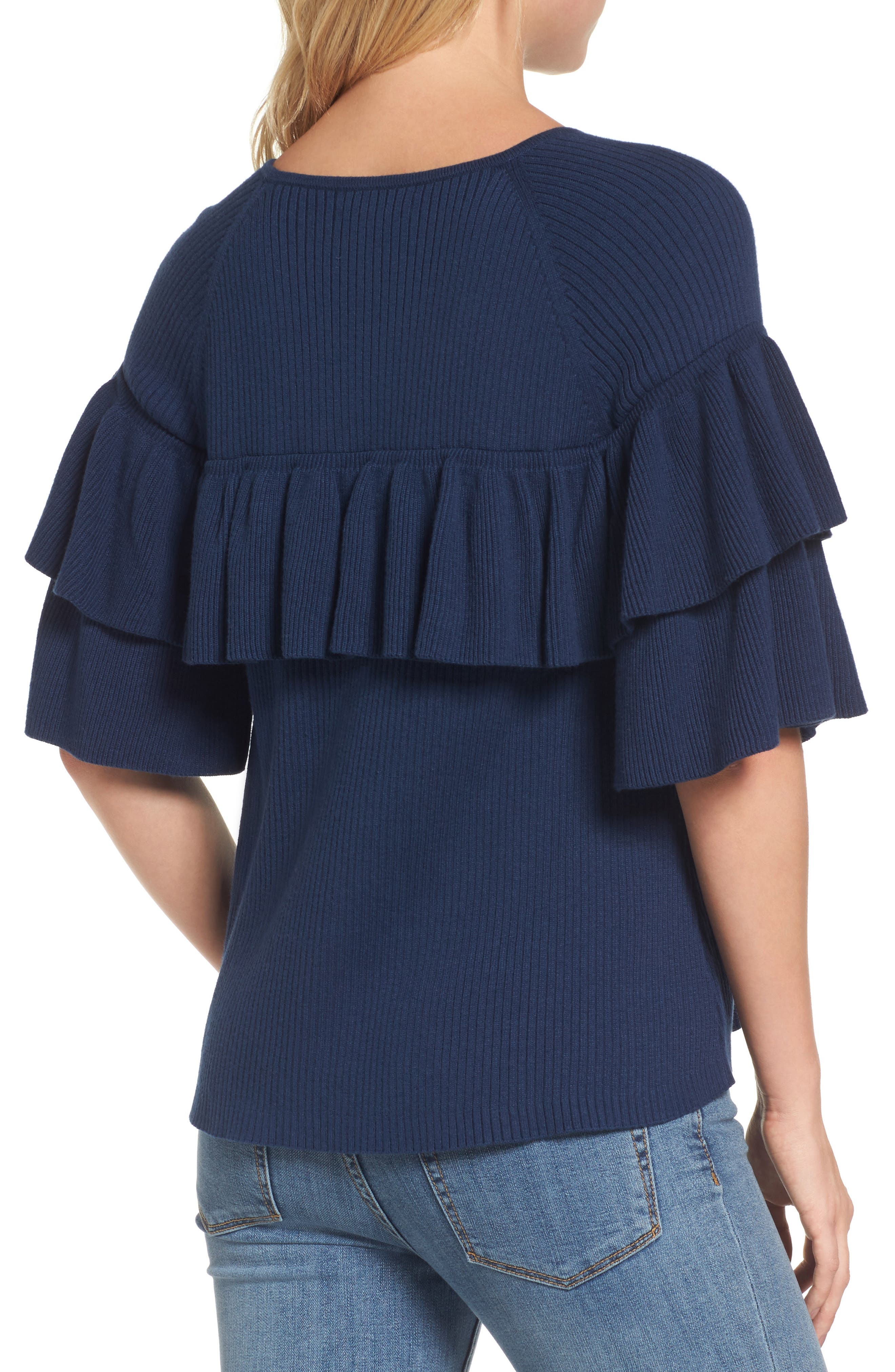 Ribbed Ruffle Sweater,                             Alternate thumbnail 2, color,                             Deep Bay