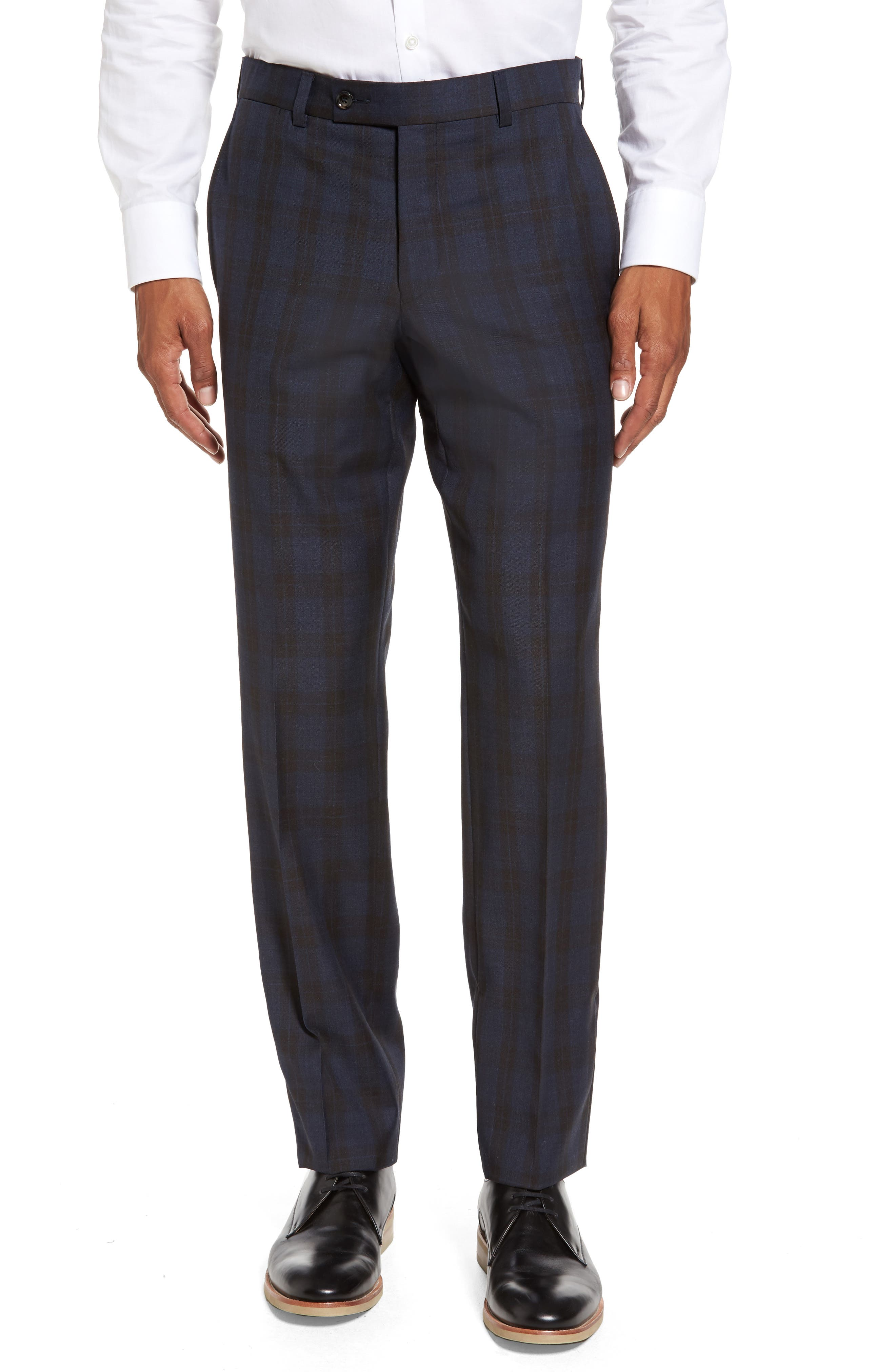 Main Image - Ted Baker London Jefferson Flat Front Plaid Wool Trousers
