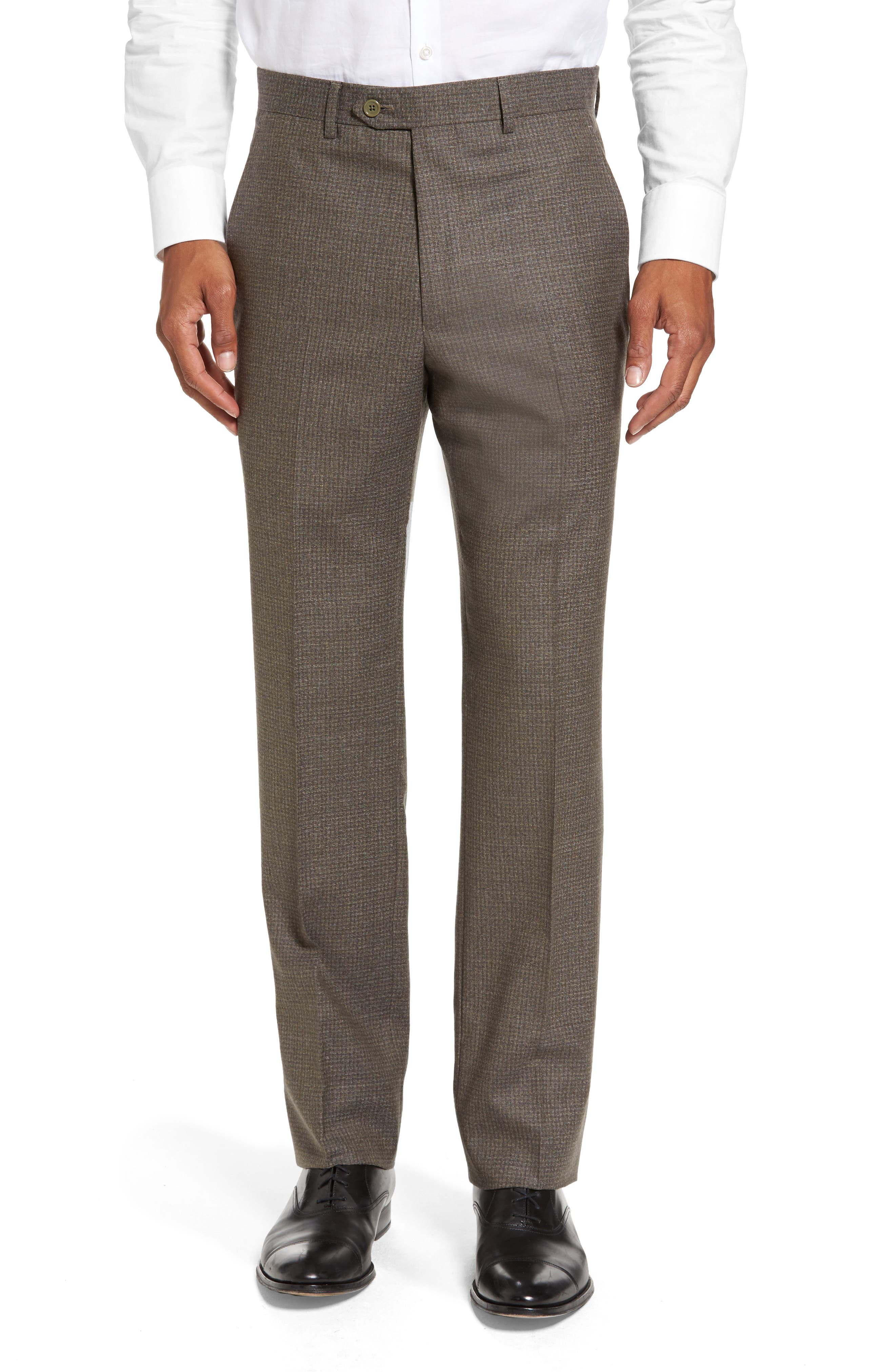 Romero Regular Fit Flat Front Trousers,                         Main,                         color, Taupe