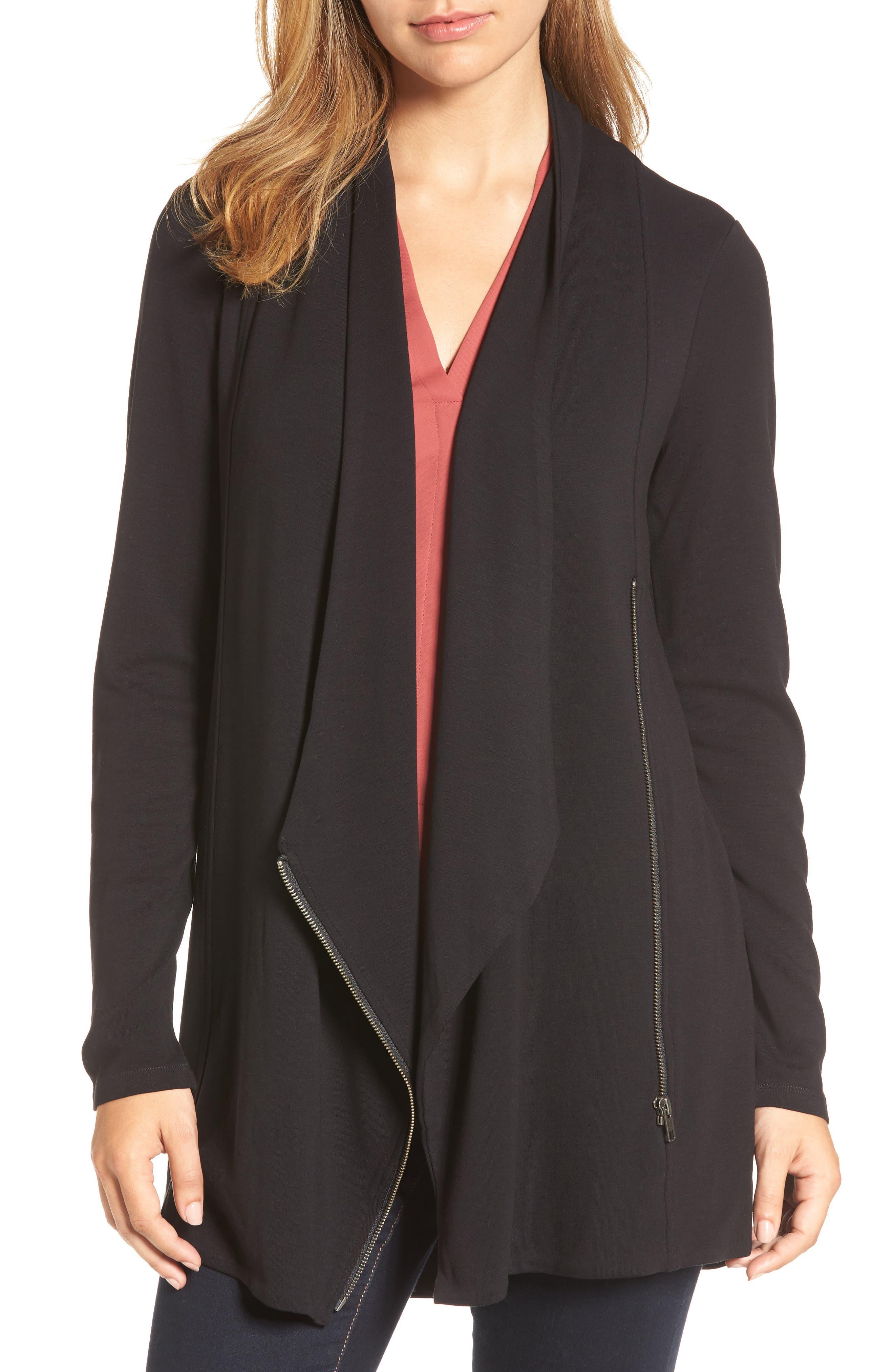 Studio Asymmetrical Zip Jacket,                             Main thumbnail 1, color,                             Black Onyx