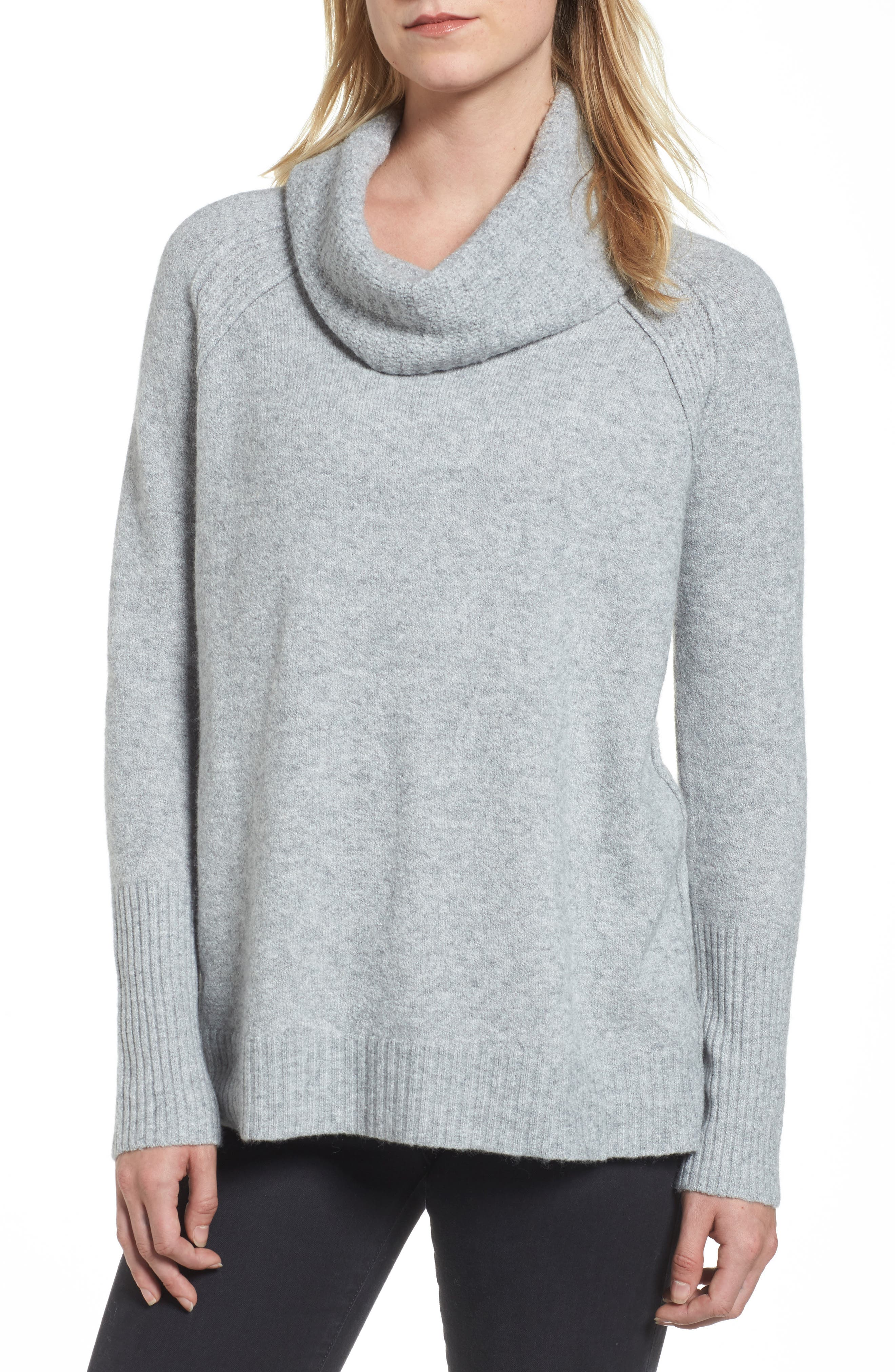 Cowl Neck Sweater,                         Main,                         color, Grey Heather